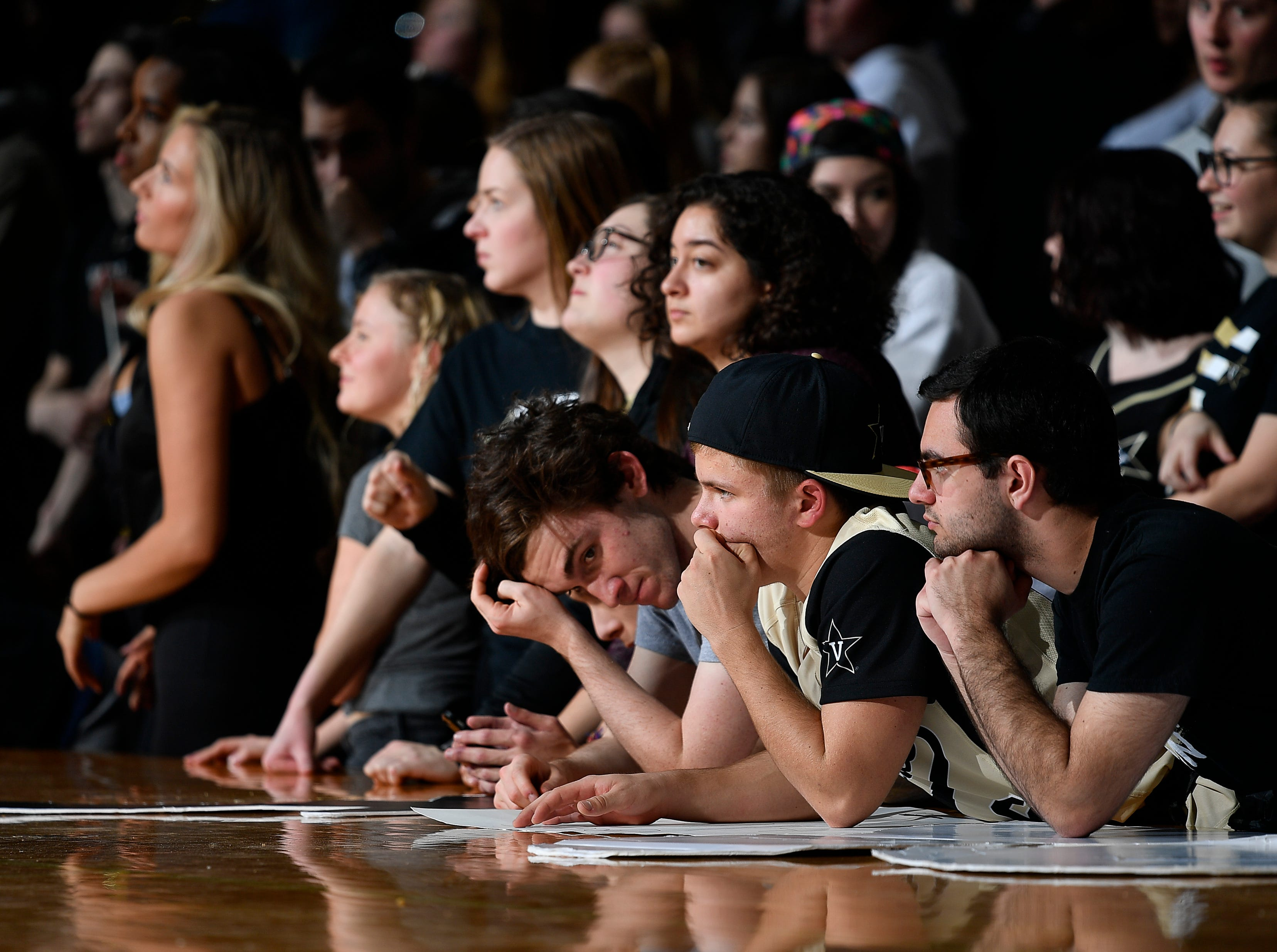 Vanderbilt fans react as they lose 77 to 67 against the Alabama at Memorial Gym Saturday Feb. 9, 2019 in Nashville, Tenn.