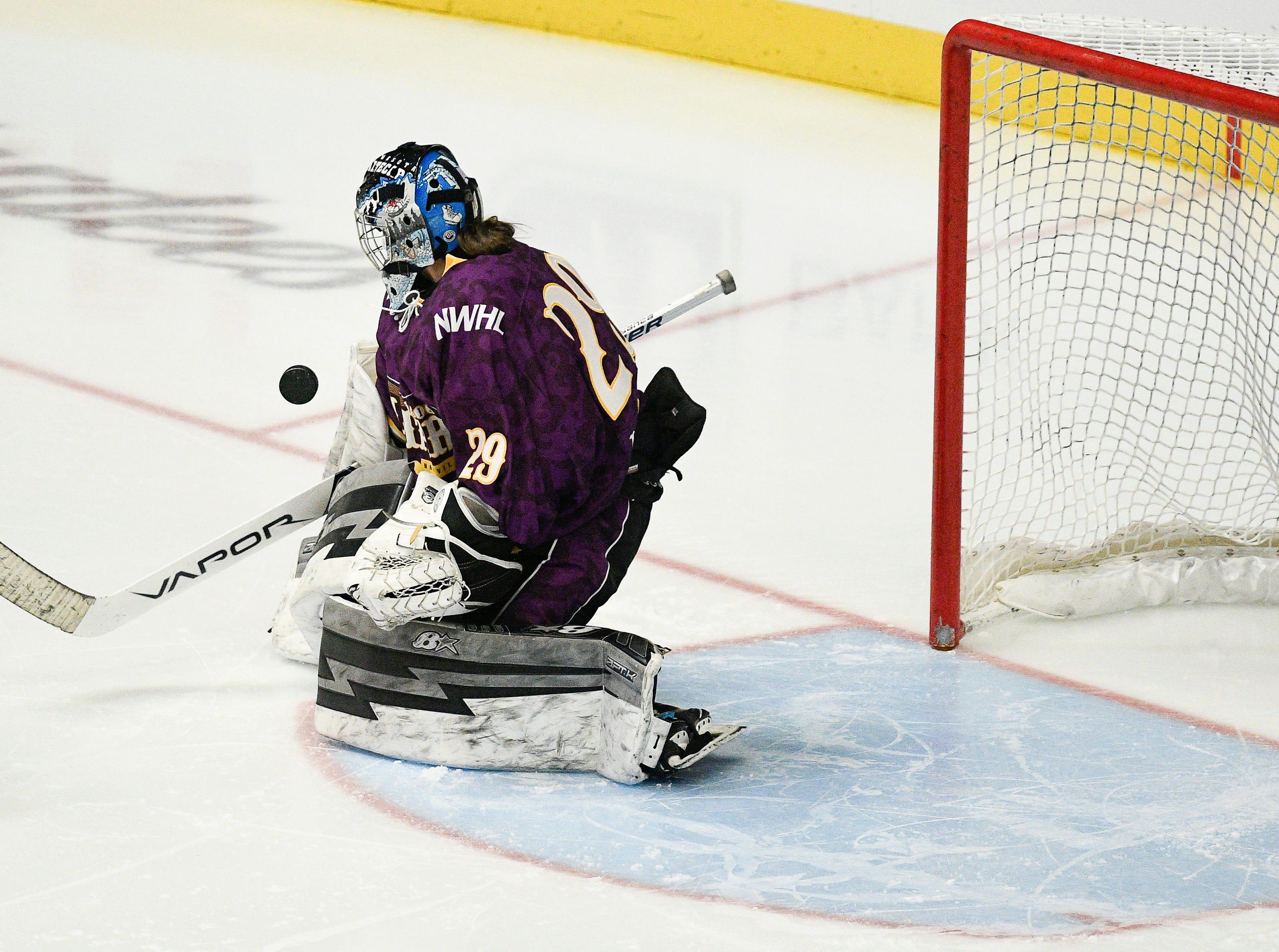 Team Stecklein goalie Amanda Leveille blocks a shot during the NWHL All Star game at Bridgestone Arena Sunday Feb. 10, 2019 in Nashville, Tenn.