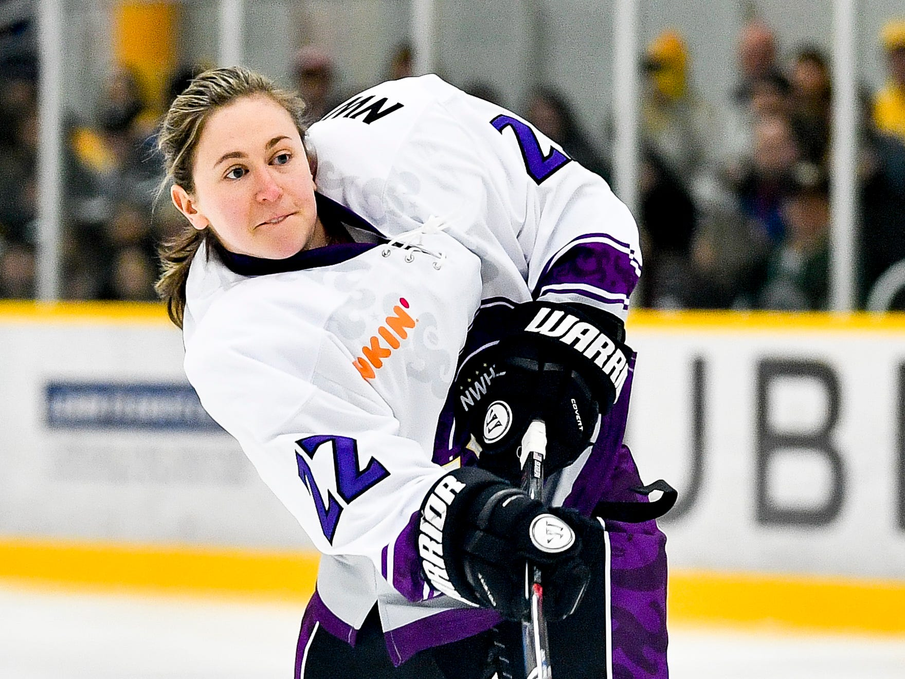 Haley Skarupa competes in the shooting accuracy competition during the 2019 NWHL All-Star Weekend Skills Competition at Ford Ice Center in Antioch, Tenn., Saturday, Feb. 9, 2019.