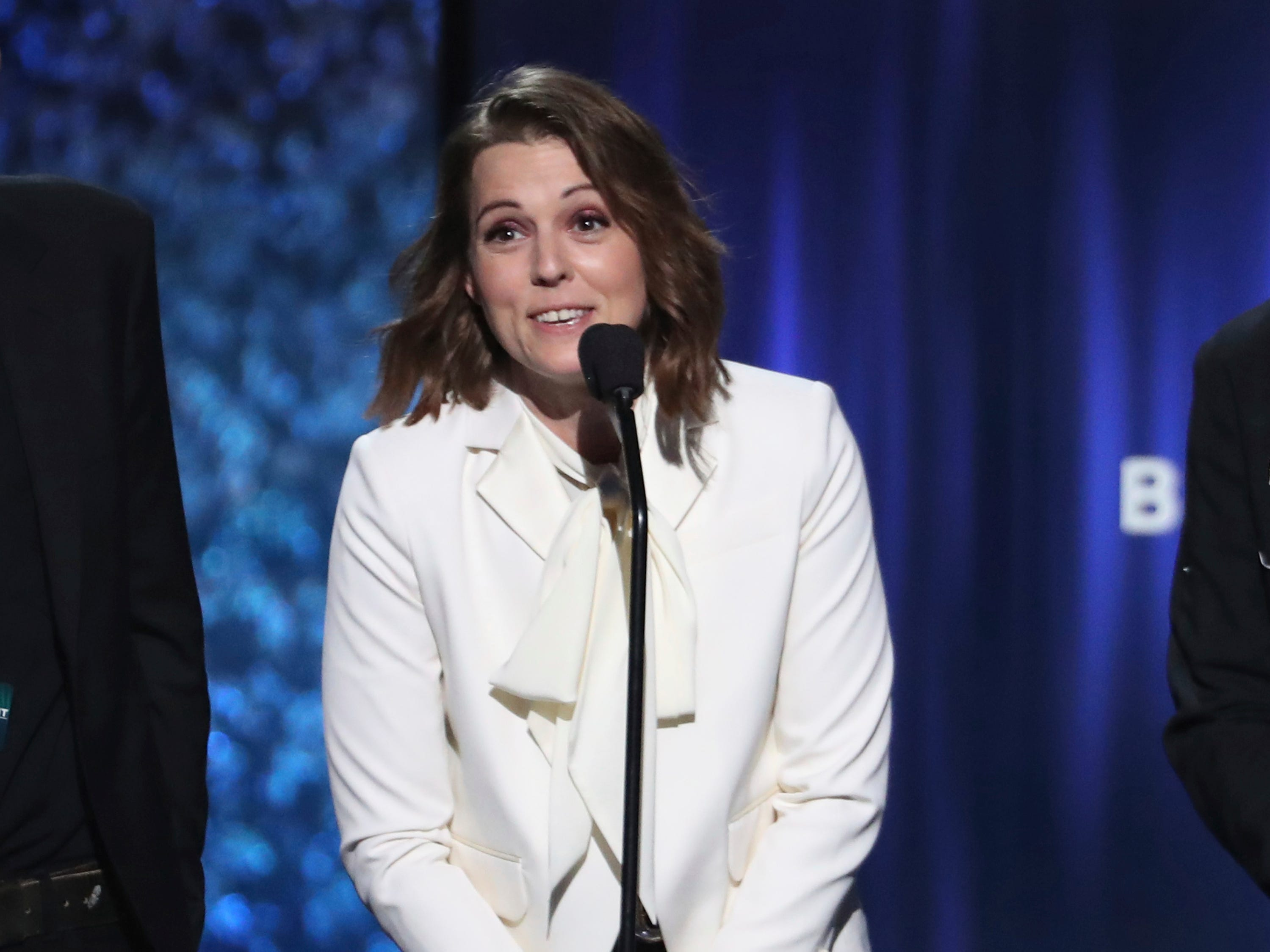 "Brandi Carlile accepts the award for best American roots performance for ""The Joke"" at the 61st annual Grammy Awards on Sunday, Feb. 10, 2019, in Los Angeles."