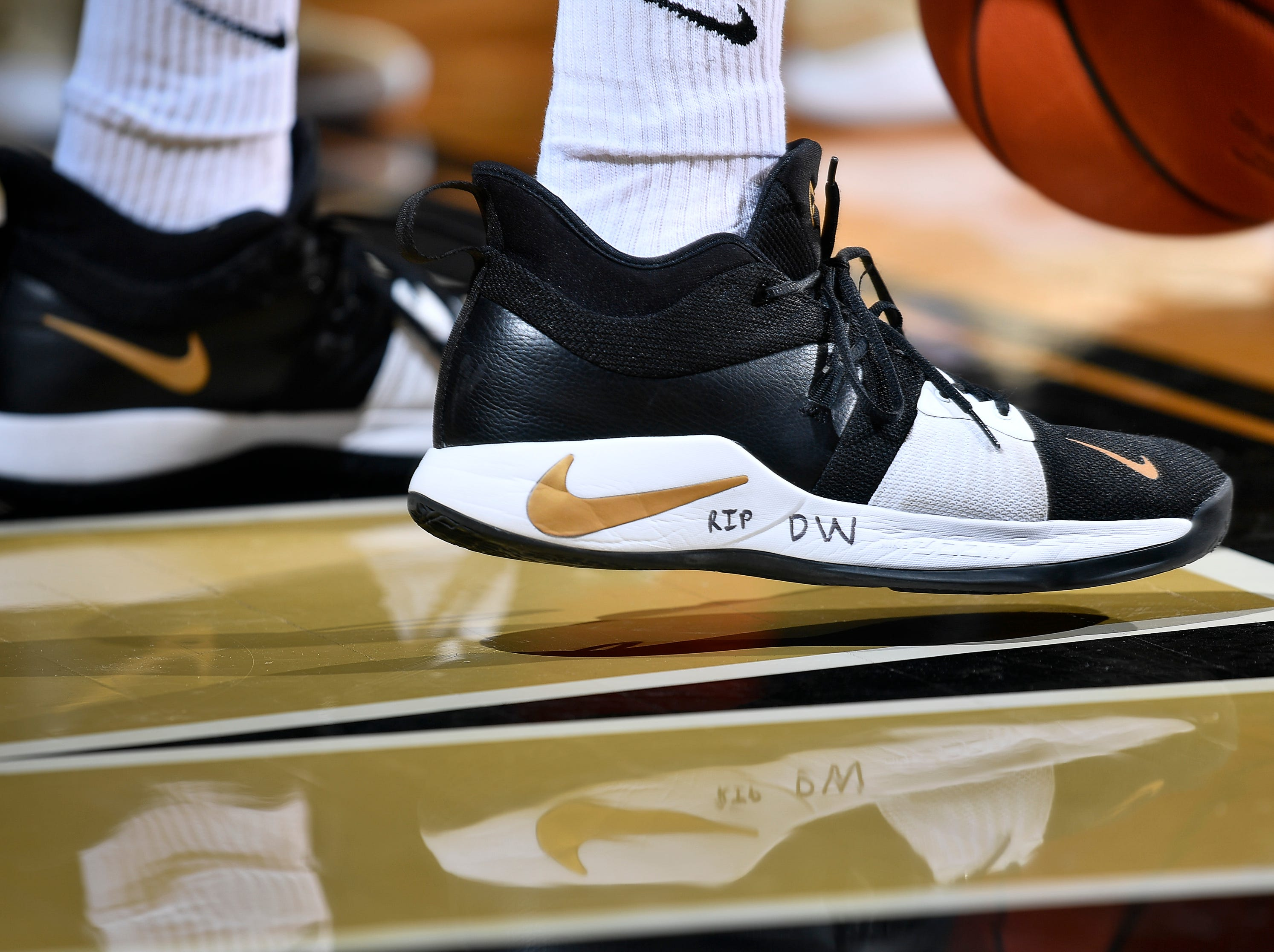 Vanderbilt guard Joe Toye marked his basketball shoes to honor former athletic director David Williams who passed away Friday as he warms up before their game against Alabama at Memorial Gym Saturday Feb. 9, 2019 in Nashville, Tenn.