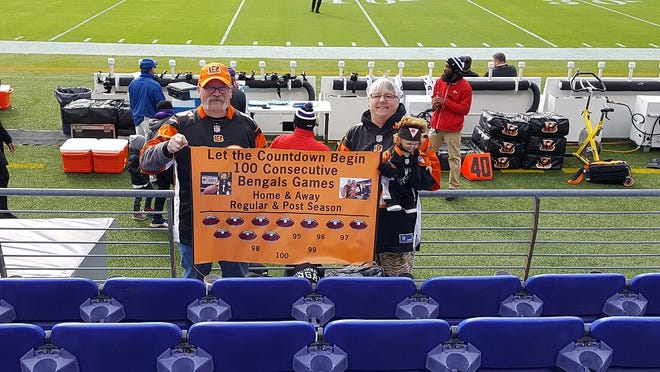 Granville couple Kent and Jenny Davis sit in the front row behind the Cincinnati Bengals bench as close to the 50-yard line as possible each game. They have attended 101 consecutive regular season and postseason games.
