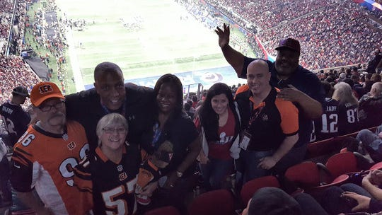 Granville couple Kent and Jenny Davis, far left, were given tickets to Super Bowl LIII by the Cincinnati Bengals. They have attended 101 consecutive Bengals regular season and postseason games.