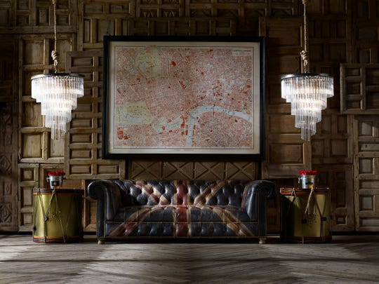 Unique furniture collections and interior objects are the hallmark of the British furniture and interiors company, Timothy Oulton. Above, the Westminster Jack'd N Brok'n handcrafted leather sofa proudly wears the Union Jack.
