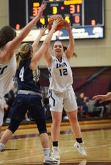 Samantha Rinaldi (no. 12) of Immaculate Heart tries to catch a loose ball (Jaclyn Kelly (no. 4) of NV/Old Tappan in the second half during the 2019 Bergen County girls basketball championship semifinal at Ramapo College in Mahwah on 02/10/19.
