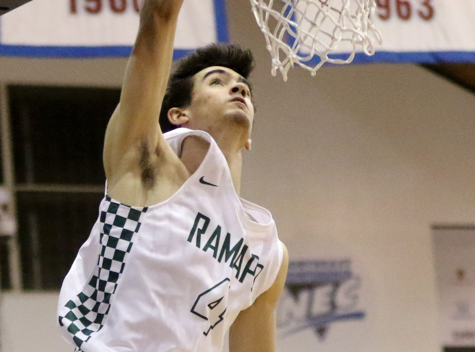 Max Pernetti, of Ramapo, dunks the ball in the second half.  The Raiders won the Bergen County Jamboree game, 78-60. Sunday, February 10, 2019