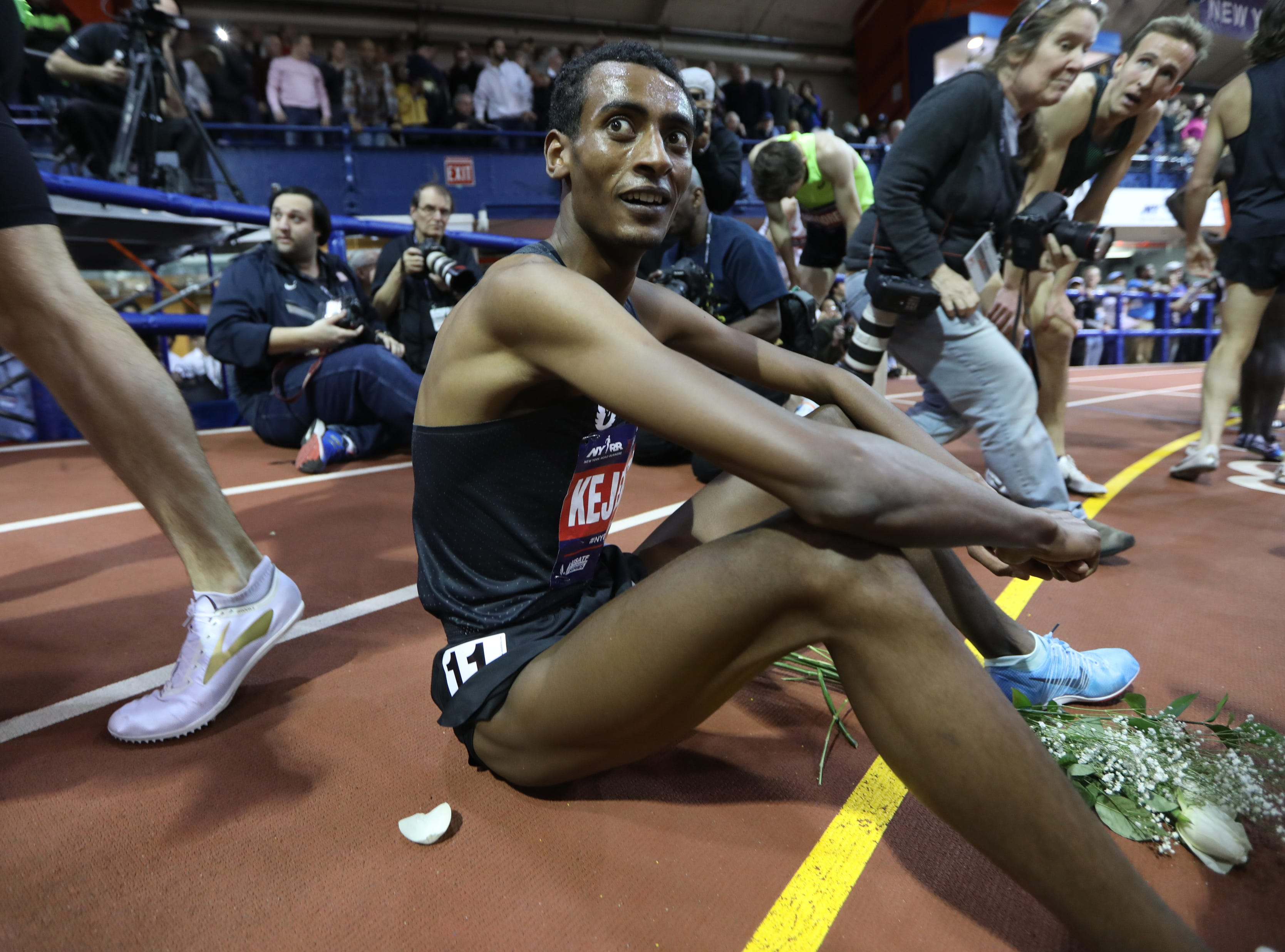 Yomif Kejelcha, is shown after winning the NYRR Men's Wanamaker Mile.  Kejelcha came with in a hundredth of a second from the world record.  His time was 3:48.46.  Saturday, February 9, 2019