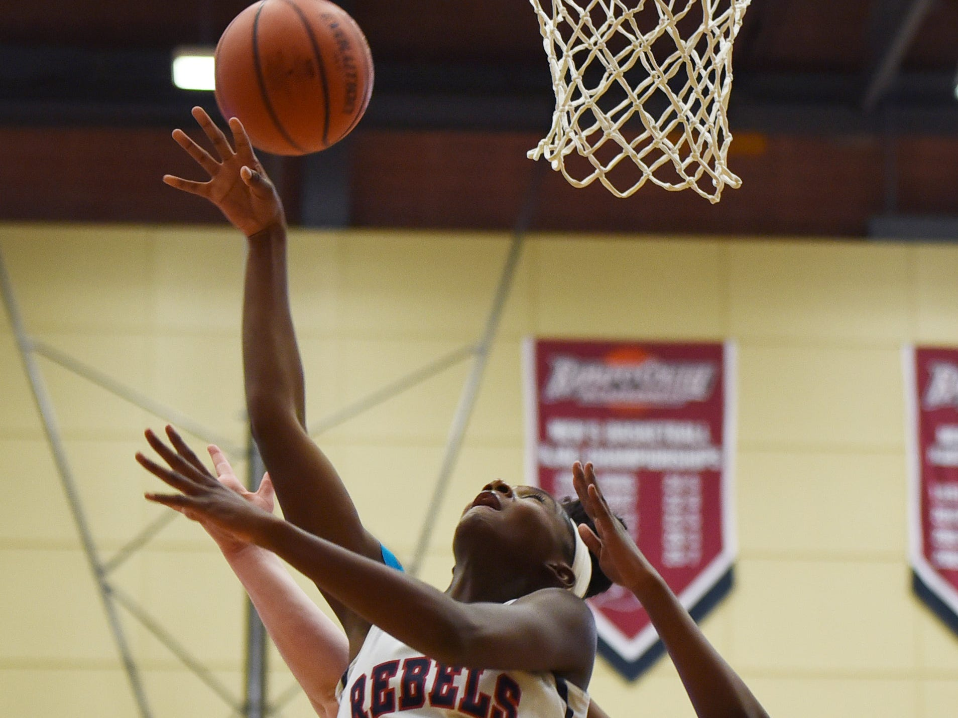 Jaida Patrick (no.3) of Saddle River Day makes a shot against Paramus Catholic in the first half during the 2019 Bergen County girls basketball championship semifinal at Ramapo College in Mahwah on 02/10/19.