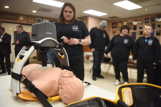 "Members of the East Rutherford EMS squad receive a demonstration of ""Lucas,"" a mechanical chest compression. The EMS squad received their own machine on Sunday, February 10, 2019 at the Grove St. Firehouse."