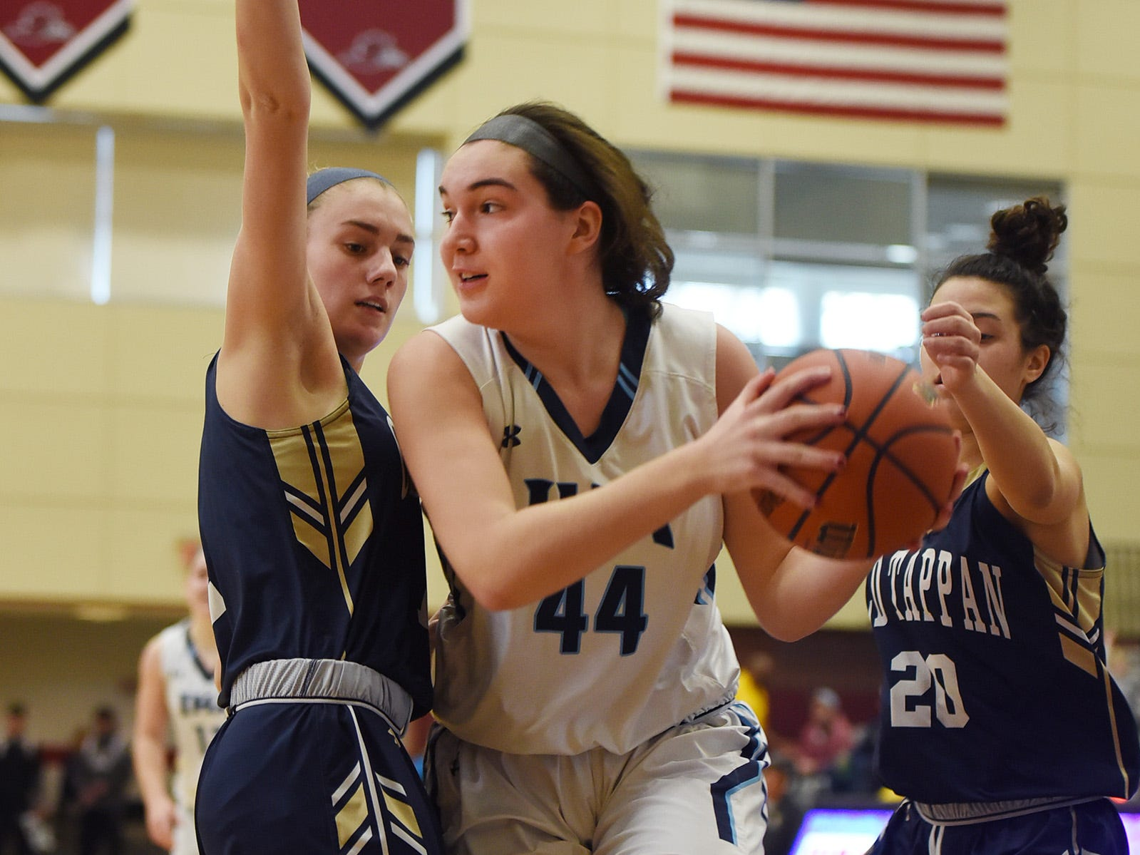 Emma Matesic (no. 44) of Immaculate Heart looks for an opening against NV/Old Tappan in the second half during the 2019 Bergen County girls basketball championship semifinal at Ramapo College in Mahwah on 02/10/19.