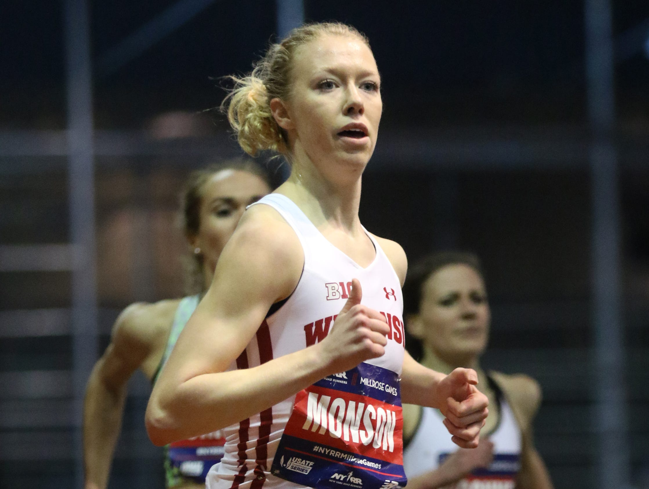 Alicia Monson made a surprise, come from behind victory in the 3000 meter race.  Monson won with a time of 8:45.97. Saturday, February 9, 2019