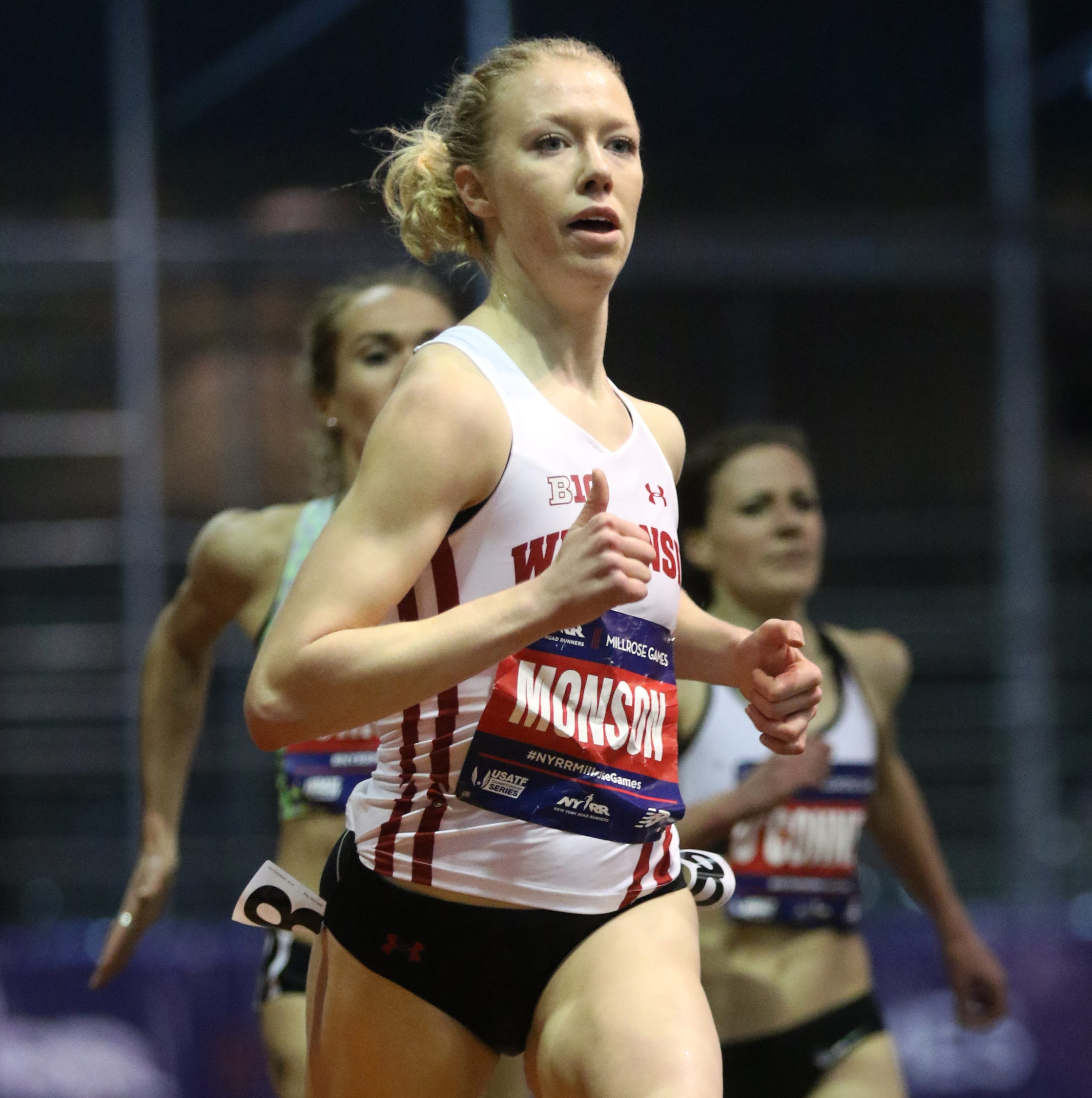 A Wisconsin runner won a Big Ten track championship while shouting encouragement to her teammate