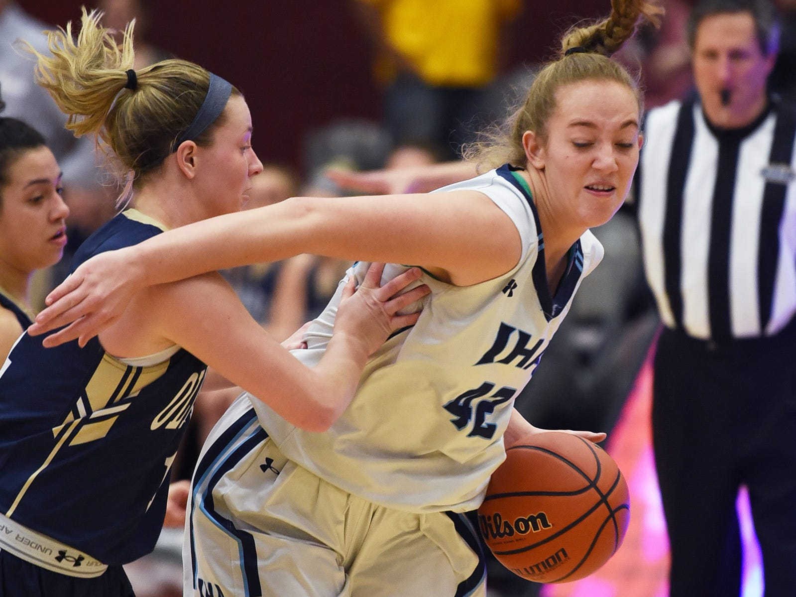 Anna Morris (no. 42) of Immaculate Heart tries to dribble around against NV/Old Tappan in the first half during the 2019 Bergen County girls basketball championship semifinal at Ramapo College in Mahwah on 02/10/19.