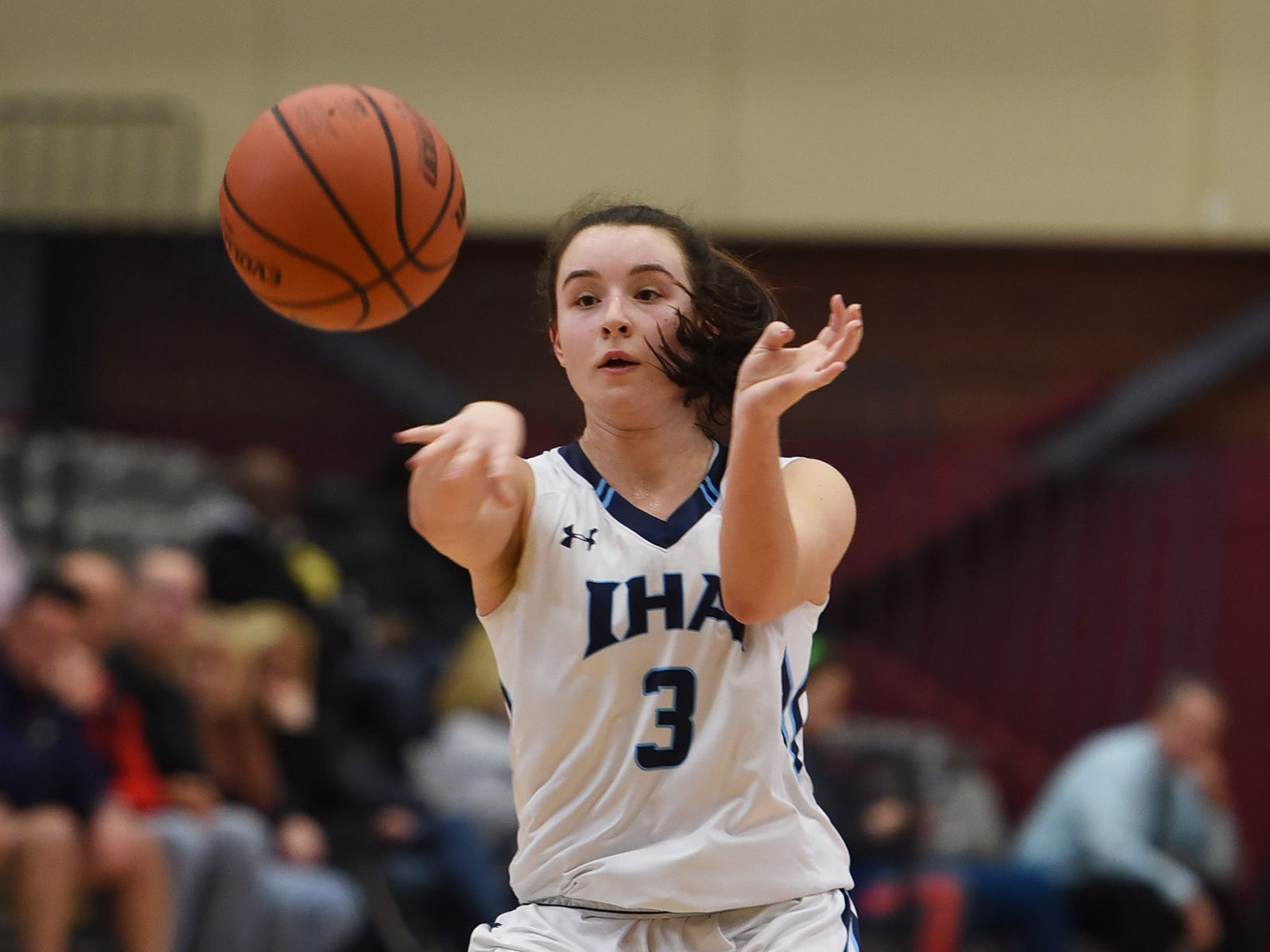 Brittany Graff (no. 3) of Immaculate Heart makes a pass against NV/Old Tappan in the second half during the 2019 Bergen County girls basketball championship semifinal at Ramapo College in Mahwah on 02/10/19.