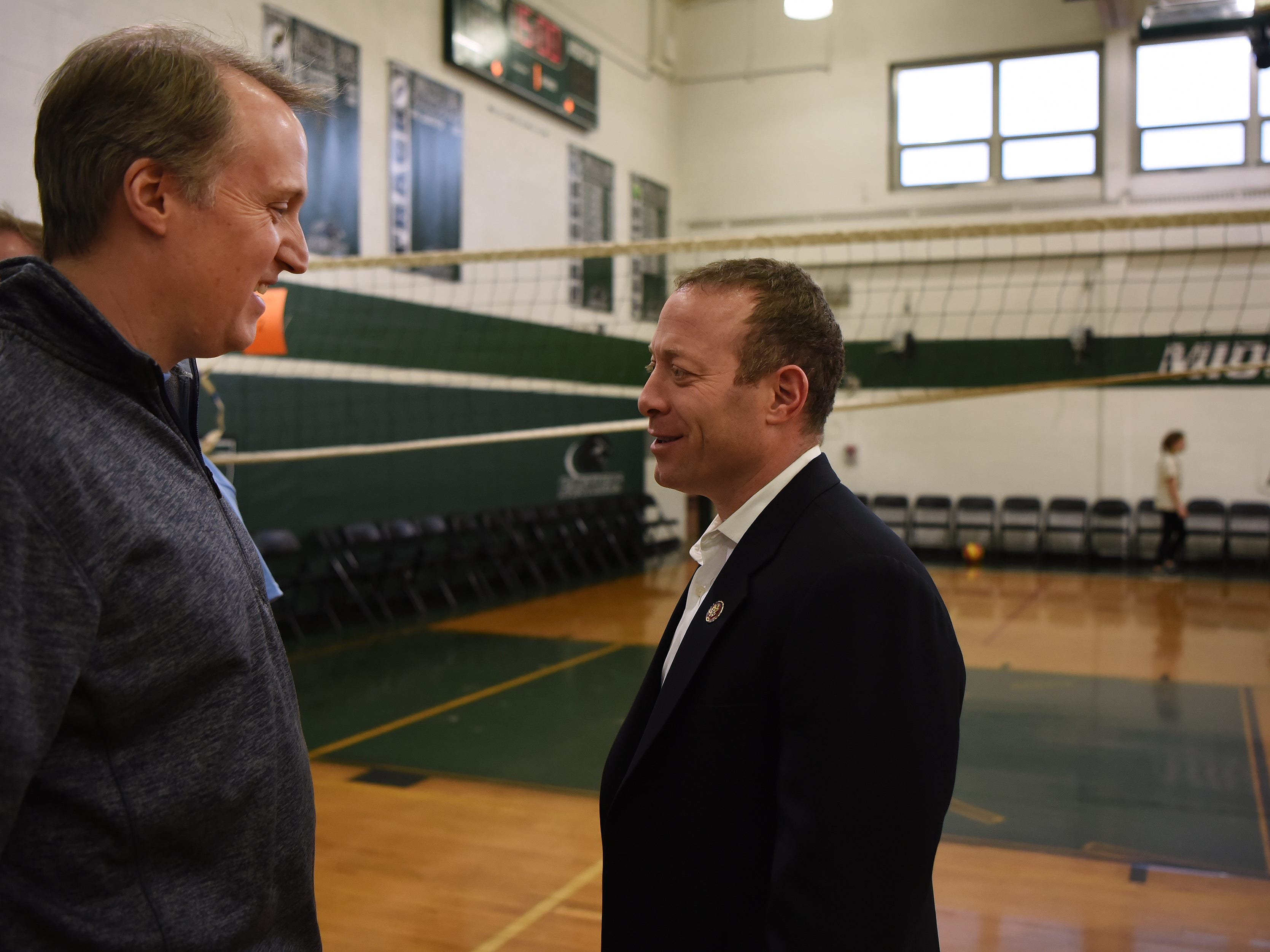 A fundraising Volleyball Tournament is held at Midland Park High School in Midland Park on Saturday February 9, 2019. The event is to raise money for the families of two young people seriously injured in an auto accident in December. Eric Moore is greeted by Congressman Josh Gottheimer.