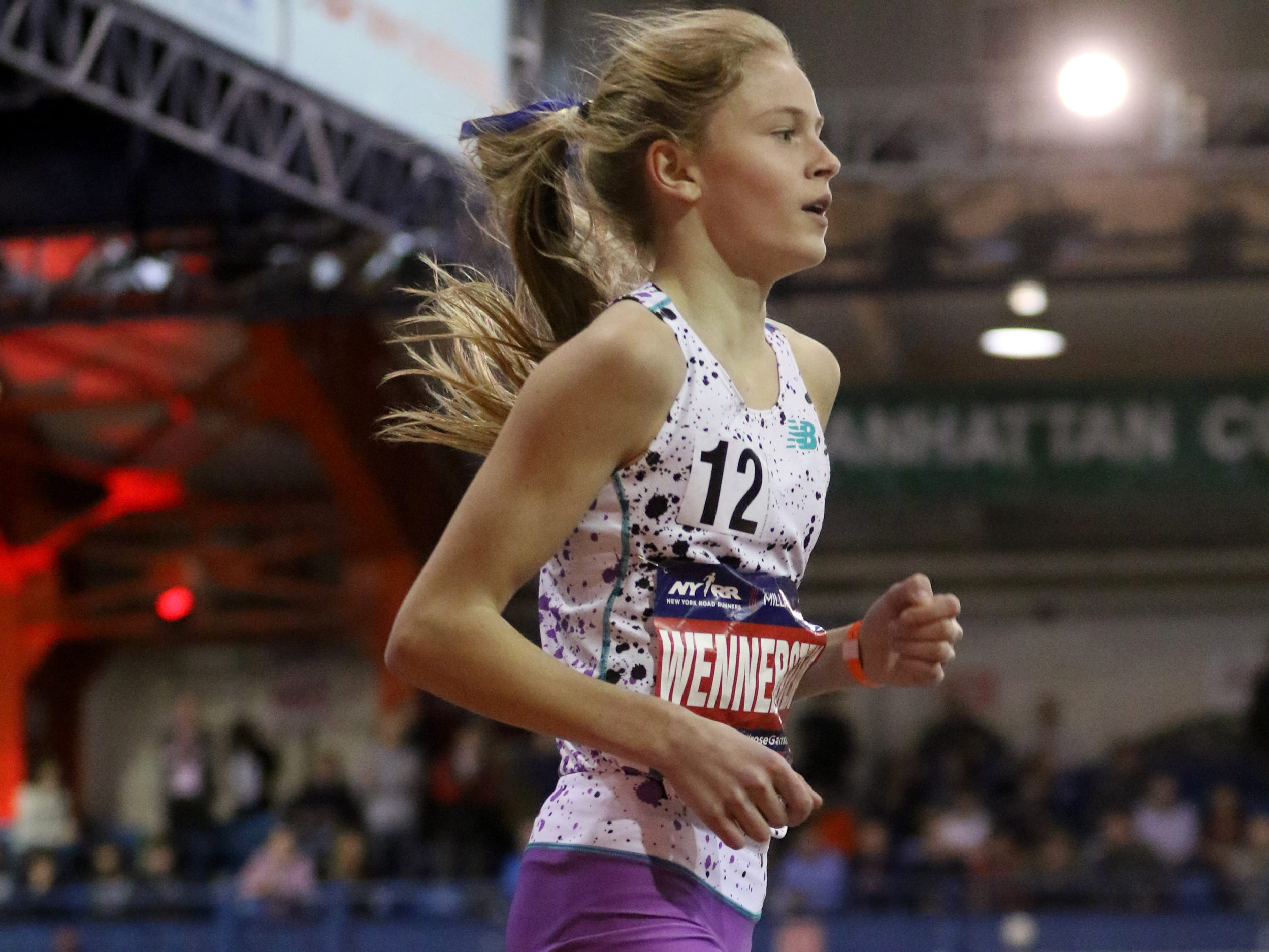 Camryn Wennersten, of Ridgewood, runs the New Balance Invitational Junior Girls' Mile.  Saturday, February 9, 2019