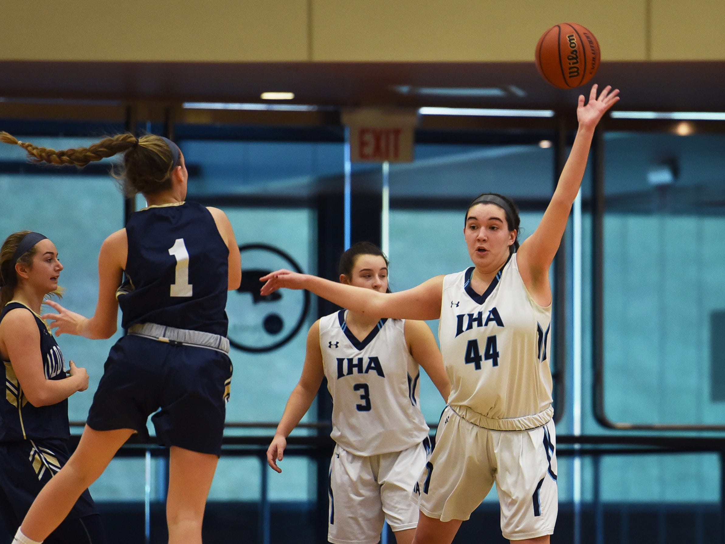 Emma Matesic (no. 44) of Immaculate Heart extends her hand to block the pass against NV/Old Tappan in the first half during the 2019 Bergen County girls basketball championship semifinal at Ramapo College in Mahwah on 02/10/19.
