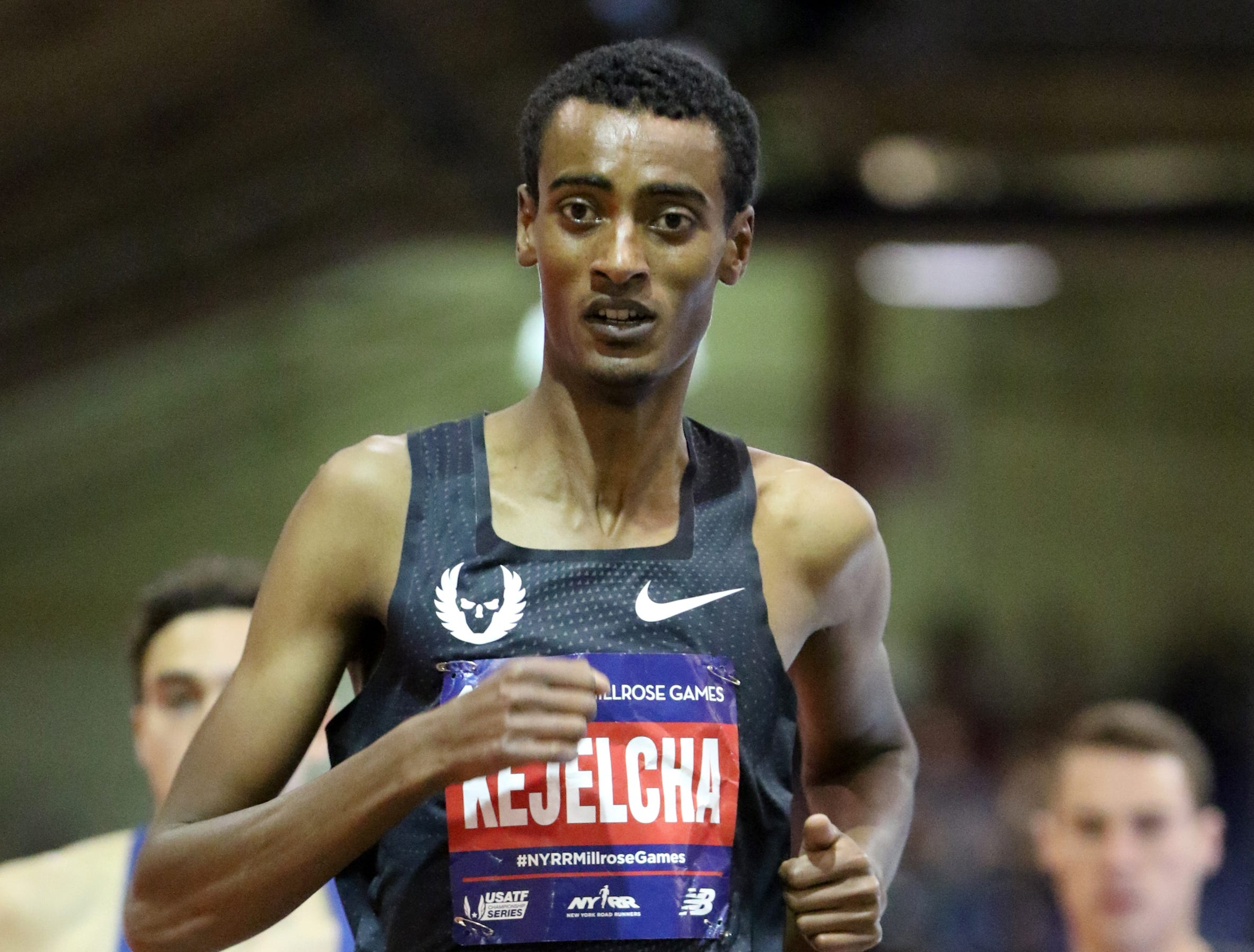 Yomif Kejelcha, is shown during the NYRR Men's Wanamaker Mile.  Kejelcha came with in a hundredth of a second from the world record.  His time was 3:48.46.  Saturday, February 9, 2019