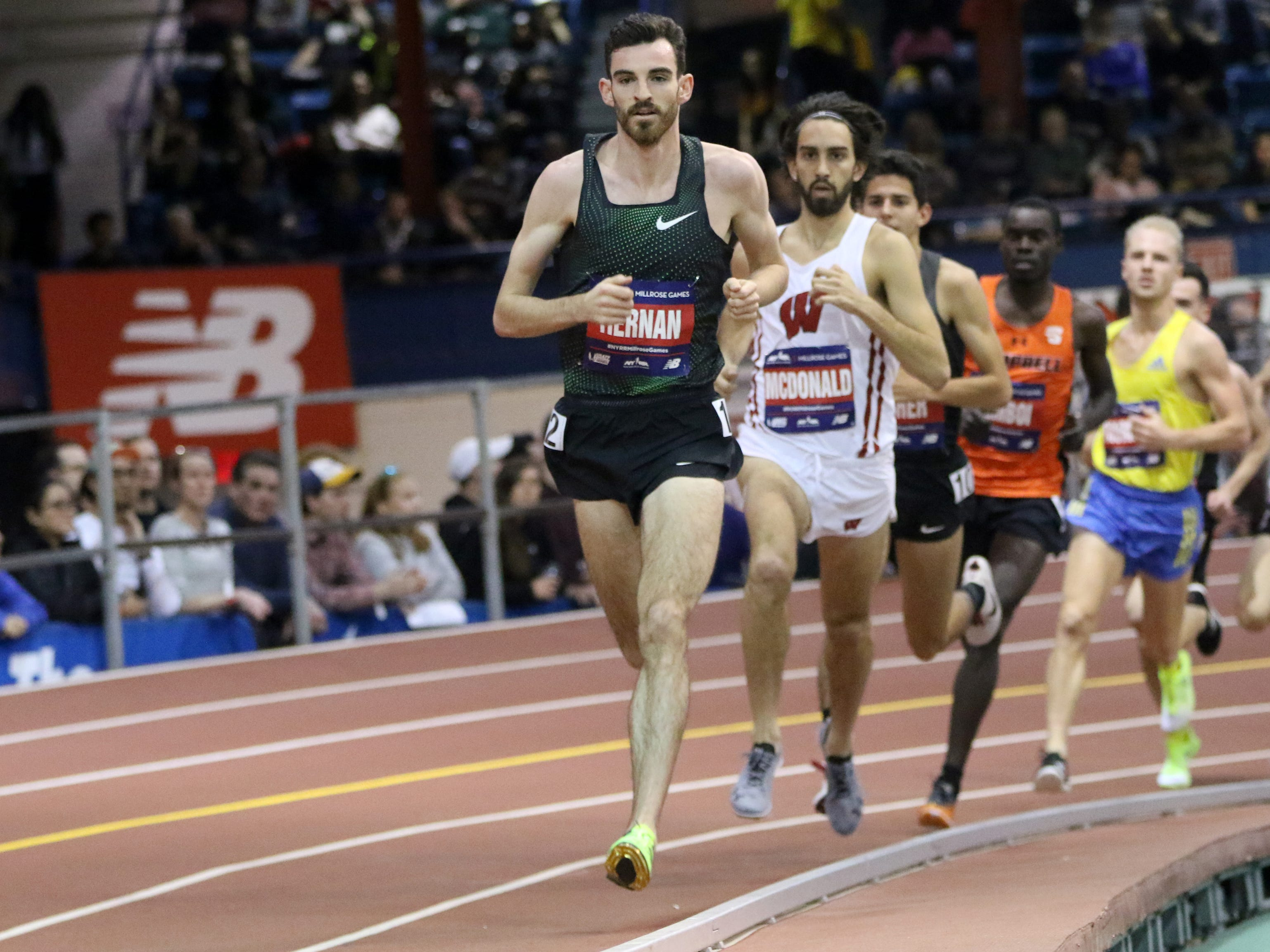 Pat Tiernan is shown during the 3000 meter race. Tiernan came in fifth place with a time of 7:48.  Saturday, February 9, 2019