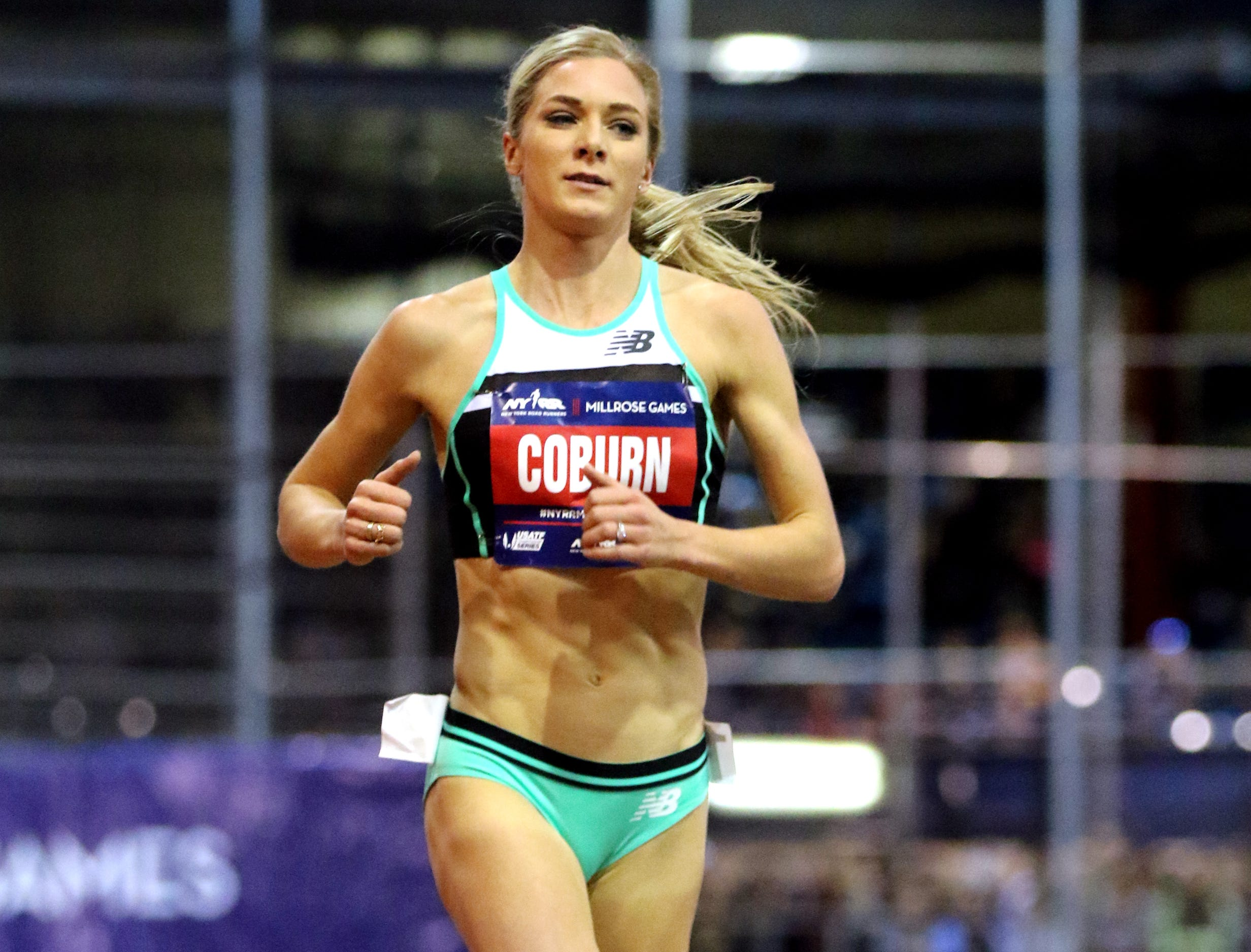 Emma Coburn took a fall during the 3000 meter race.  When she got up she was in last place but caught up to half of the field to finish in fifth place in a time of 8:52.27. Saturday, February 9, 2019