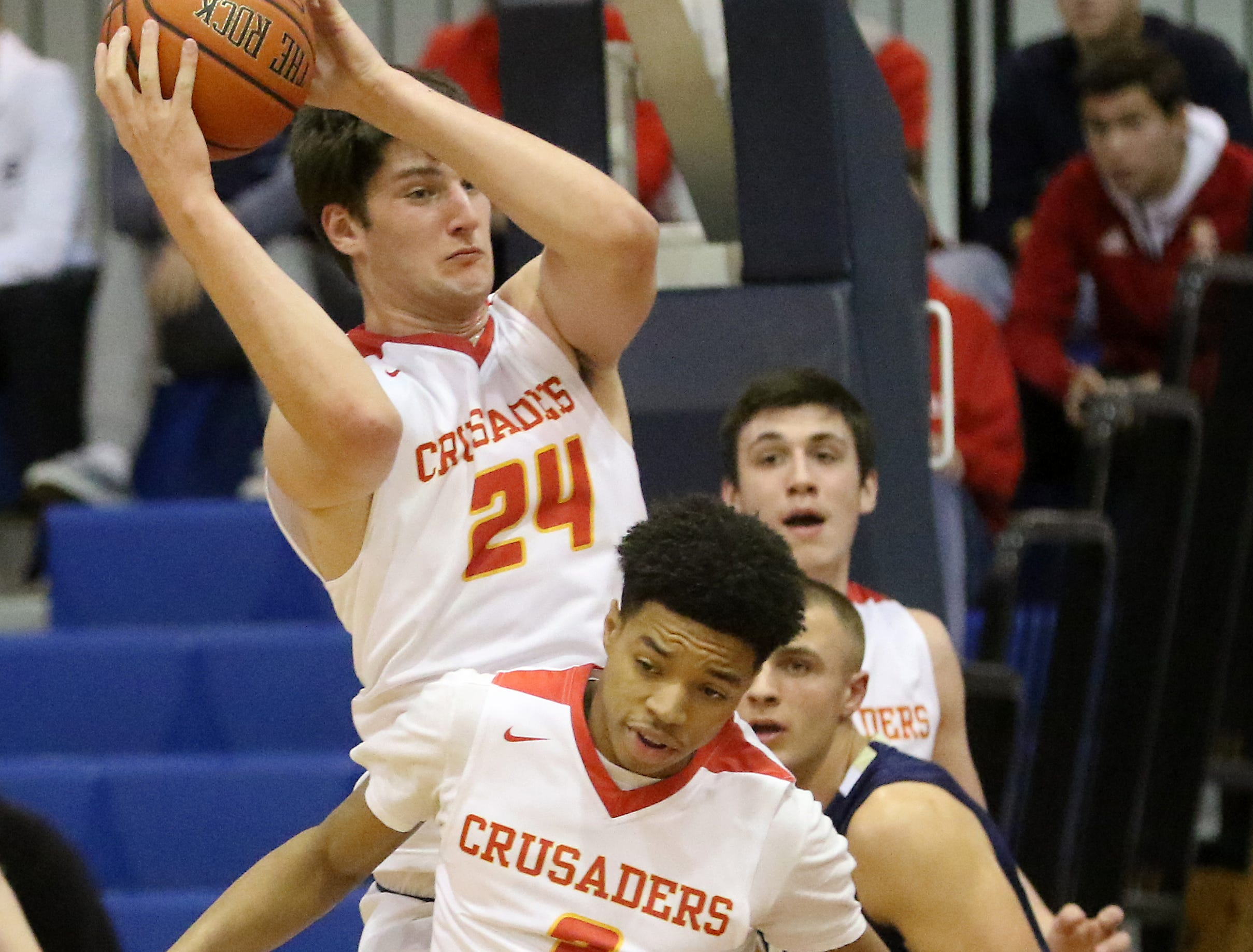 Matt Zona, of Bergen Catholic comes up with the ball at the Bergen County Jamboree. Sunday, February 10, 2019