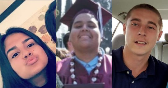 From left: Yuliana Garcia, 17; Juan Duarte Raya, 18; and Jacob Montgomery, 19, were found shot to death Feb. 3 inside a Toyota Corolla that had crashed near the intersection of Sunny Dunes Road and El Placer in Palm Springs.
