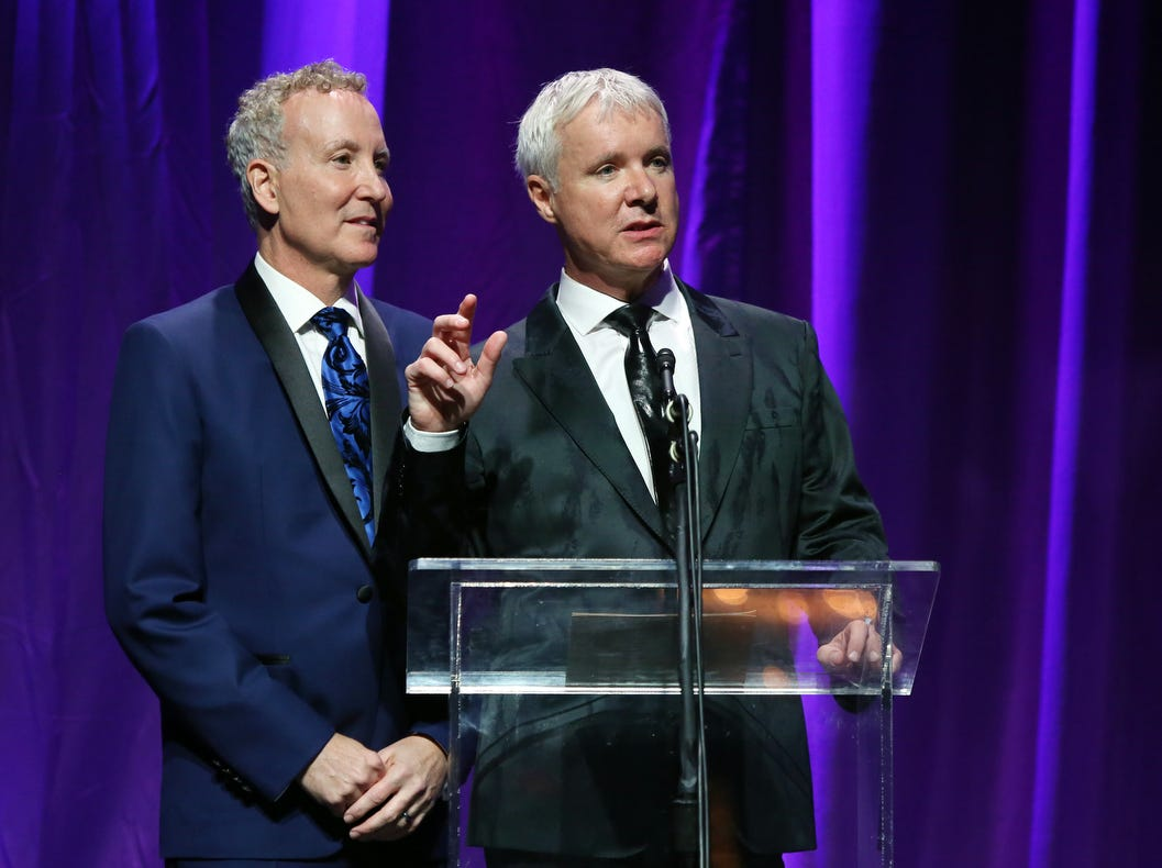 02/09/19 Taya Gray, Special to The Desert SunPartners For Life Award recipients James Williamson, right, and Geoff Kors speak during the 25th Annual Steve Chase Humanitarian Awards at the Palm Springs Convention Center on Saturday, February 9, 2019.