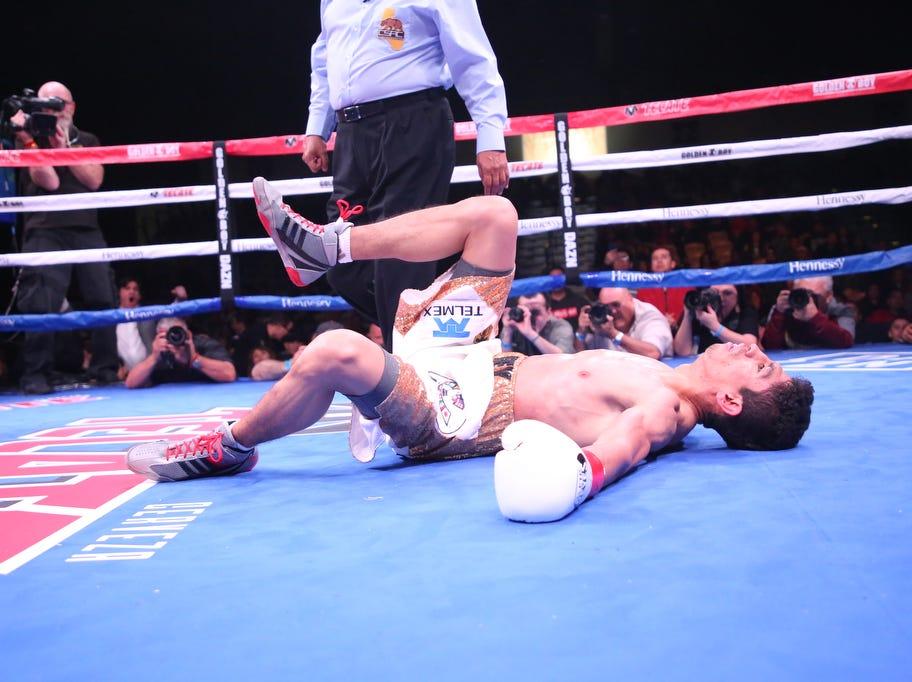 Venezuelan Franklin Manzanilla knocks down Mexican Ray Vargas at Fantasy Springs Casino on February 9, 2019.