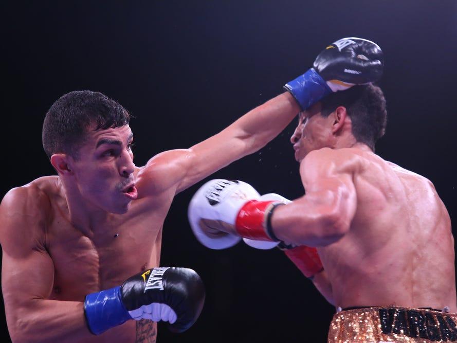At left, Venezuelan Franklin Manzanilla fights Mexican Ray Vargas at Fantasy Springs Casino on February 9, 2019.