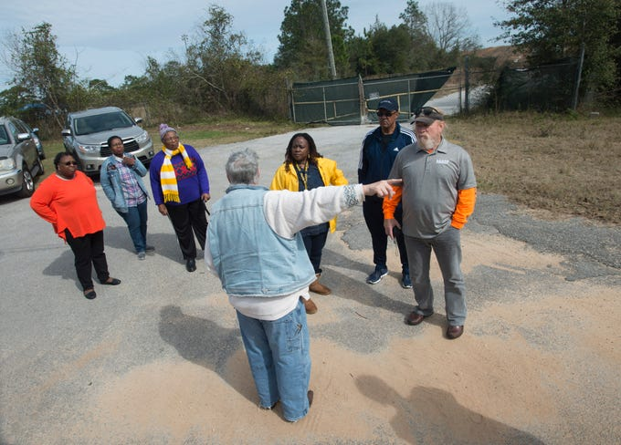 Environmental activist Gloria Horning gives an update on the cleanup of the Rolling Hills Landfill Saturday, February 9, 2019.