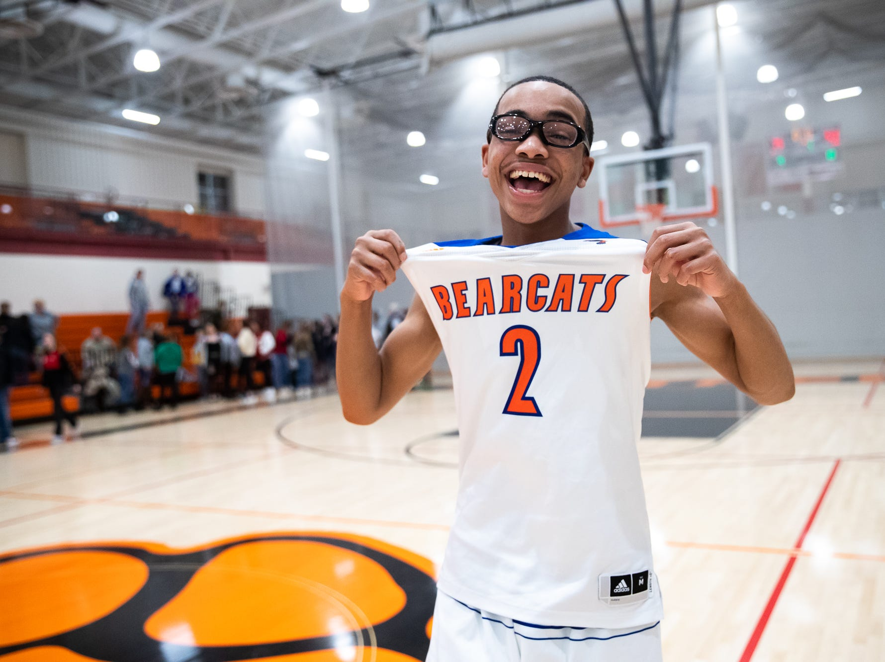 York High's Cameron Gallon (2) celebrates after winning his YAIAA quarterfinal against Dover, Saturday, Feb. 9, 2019, at Central York High School. The York High Bearcats defeated the Dover Eagles 75-53.