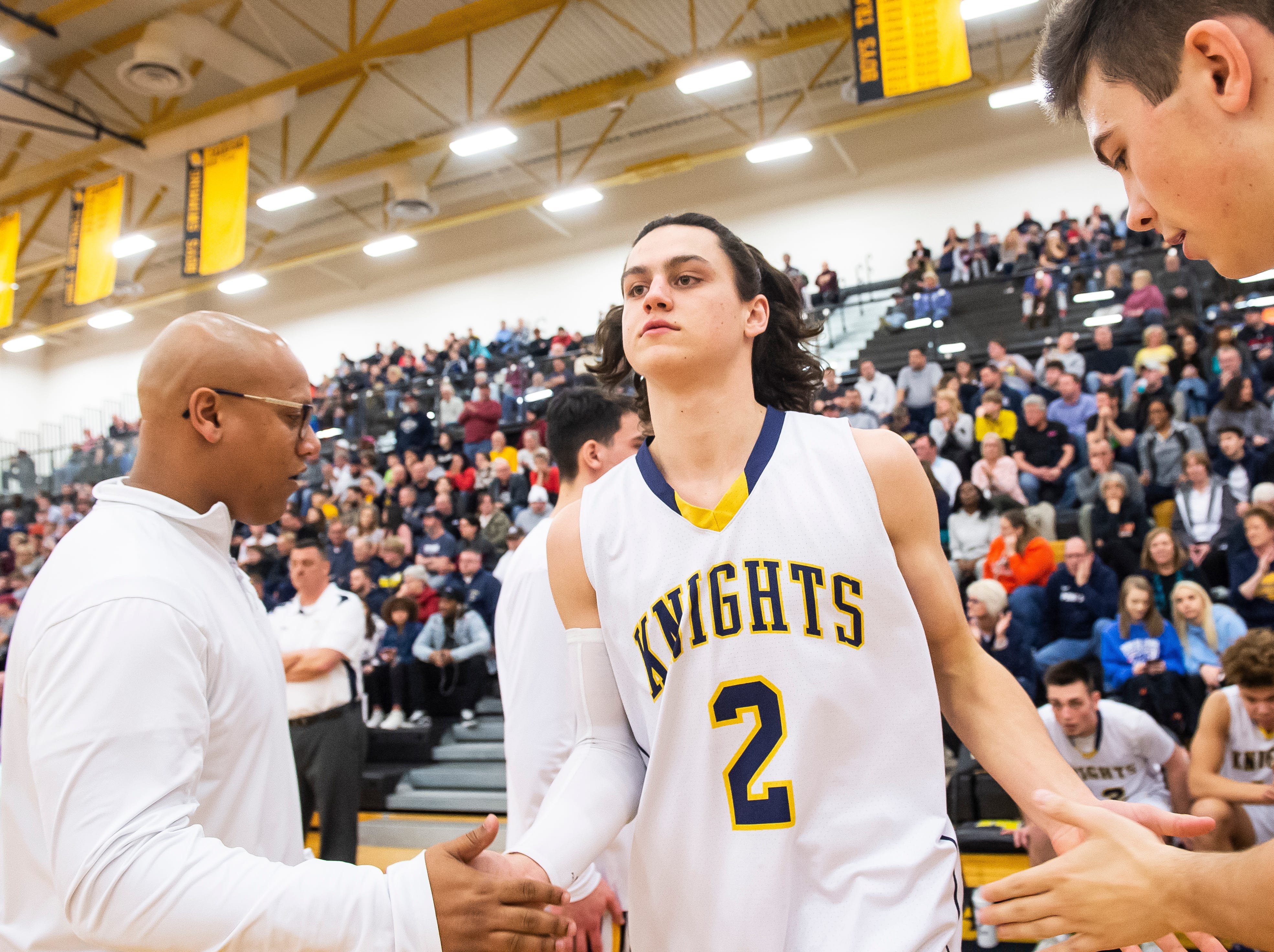 Eastern York's Bryce Henise is introduced during the starting lineups before a YAIAA quarterfinal game against New Oxford at Red Lion High School Saturday, February 9, 2019. Henise scored 10 points in the Golden Knights' loss.