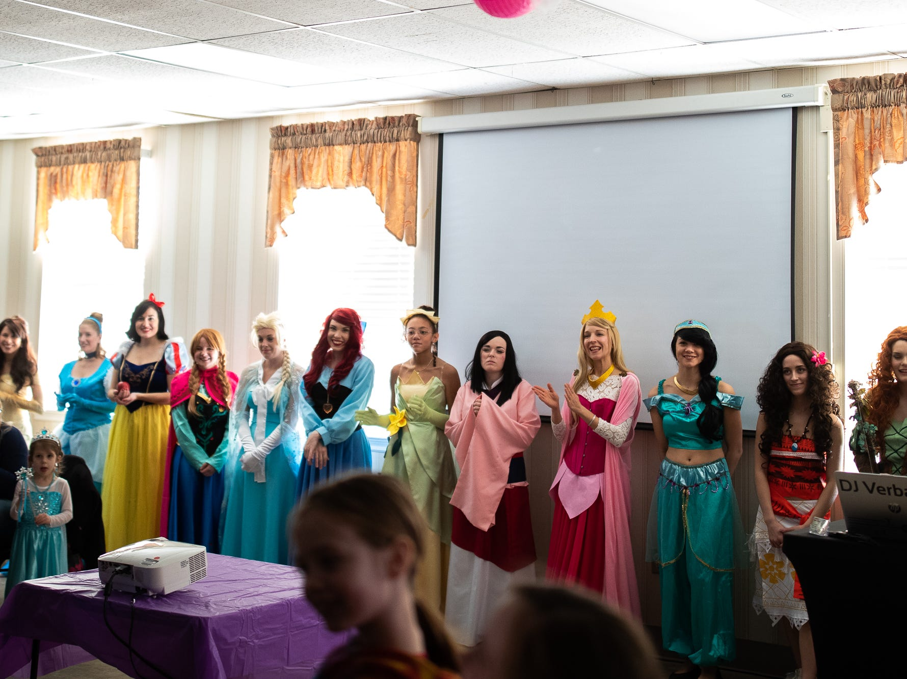 Princesses arrive during a princess teatime hosted by the Black Rose Rollers, Saturday, Feb. 9, 2019, at the Hanover YWCA.