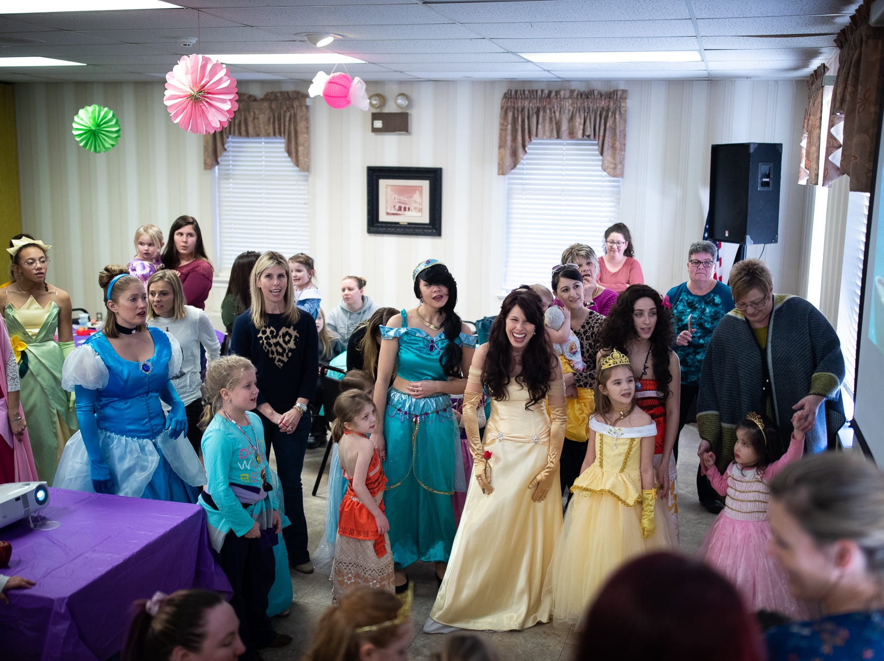 "Princesses and kids sing along to Disney's ""Moana"" during a princess teatime hosted by the Black Rose Rollers, Saturday, Feb. 9, 2019, at the Hanover YWCA."