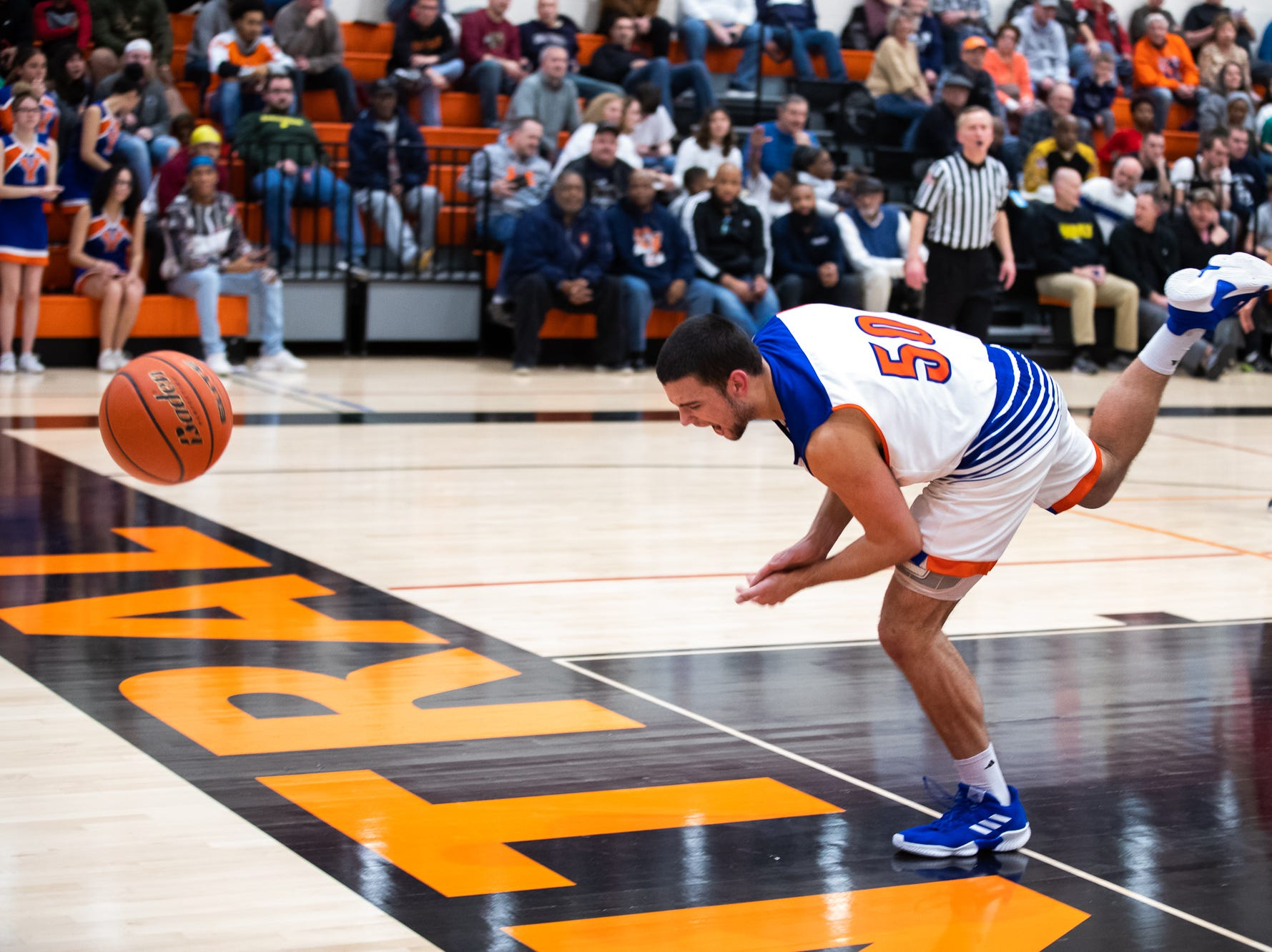York High's Seth Bernstein (50) goes out of bounds during the second half of a YAIAA quarterfinal between York High and Dover, Saturday, Feb. 9, 2019, at Central York High School. The York High Bearcats defeated the Dover Eagles 75-53.