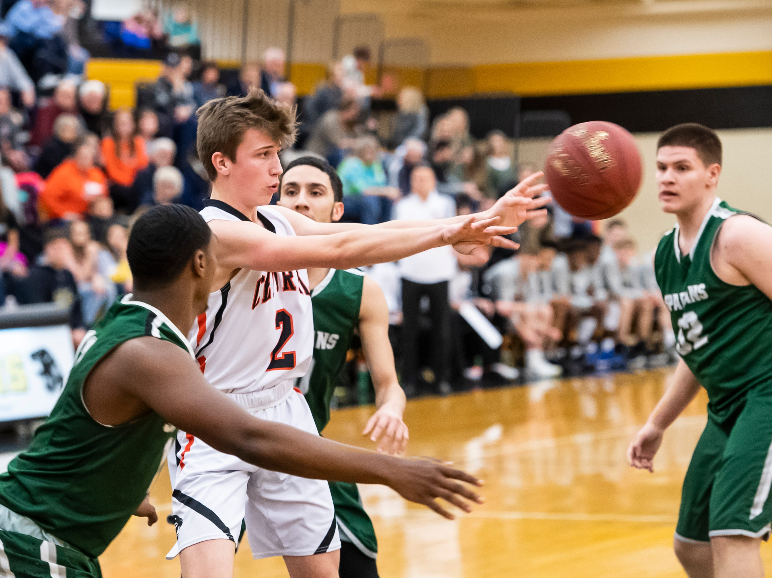 Central York's Alex Salter passes the ball during during play against York County Tech in a YAIAA quarterfinal game at Red Lion High School Saturday, February 9, 2019. The Panthers won 74-43.