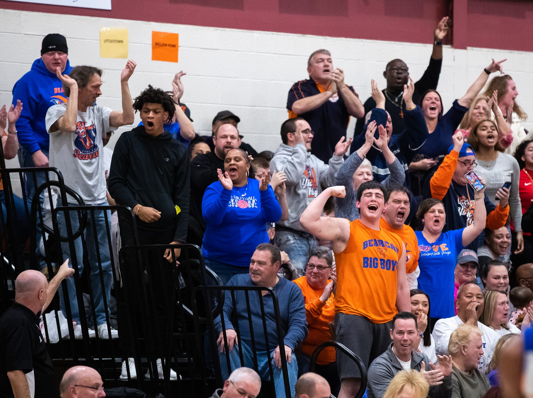 York High's fan section cheers during the first half of a YAIAA quarterfinal between York High and Dover, Saturday, Feb. 9, 2019, at Central York High School. West York led Dover 48-35 at the half.