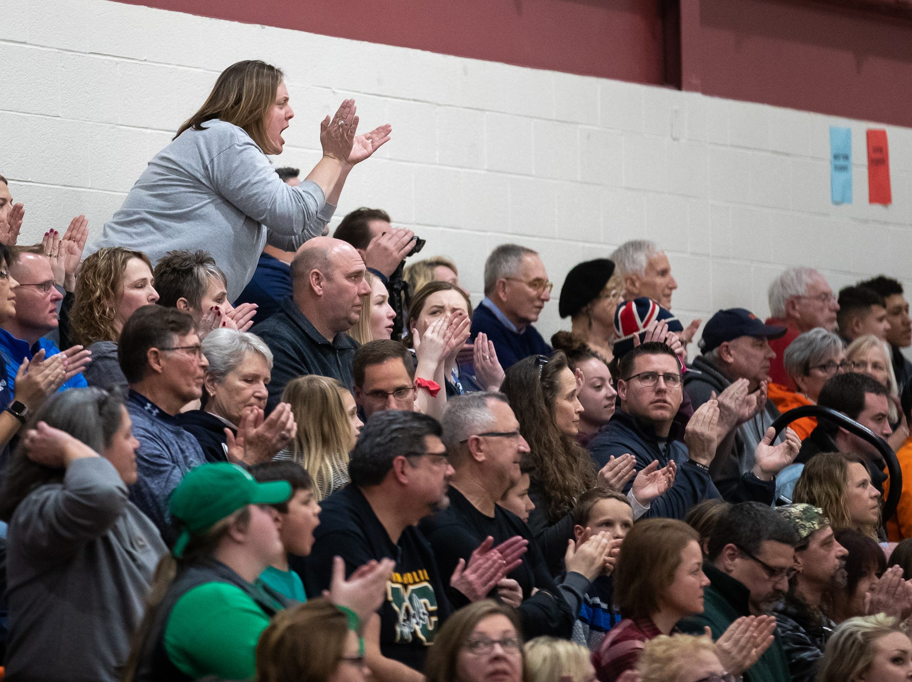 A fan reacts during the second half of the YAIAA boys' basketball quarterfinals between Littlestown and West York, Saturday, Feb. 9, 2019, at Central York High School. The Littlestown Bolts defeated the West York Bulldogs 73-63.