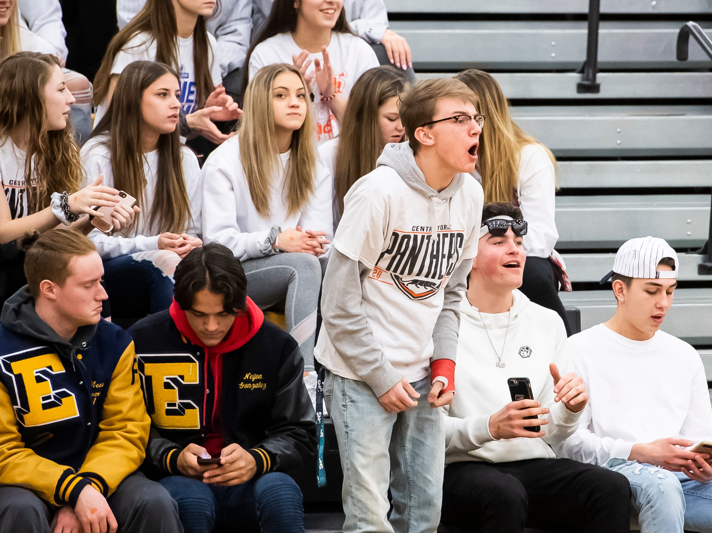 A fan in the Central York student section yells during play against York County Tech in a YAIAA quarterfinal game at Red Lion High School Saturday, February 9, 2019. The Panthers won 74-43.