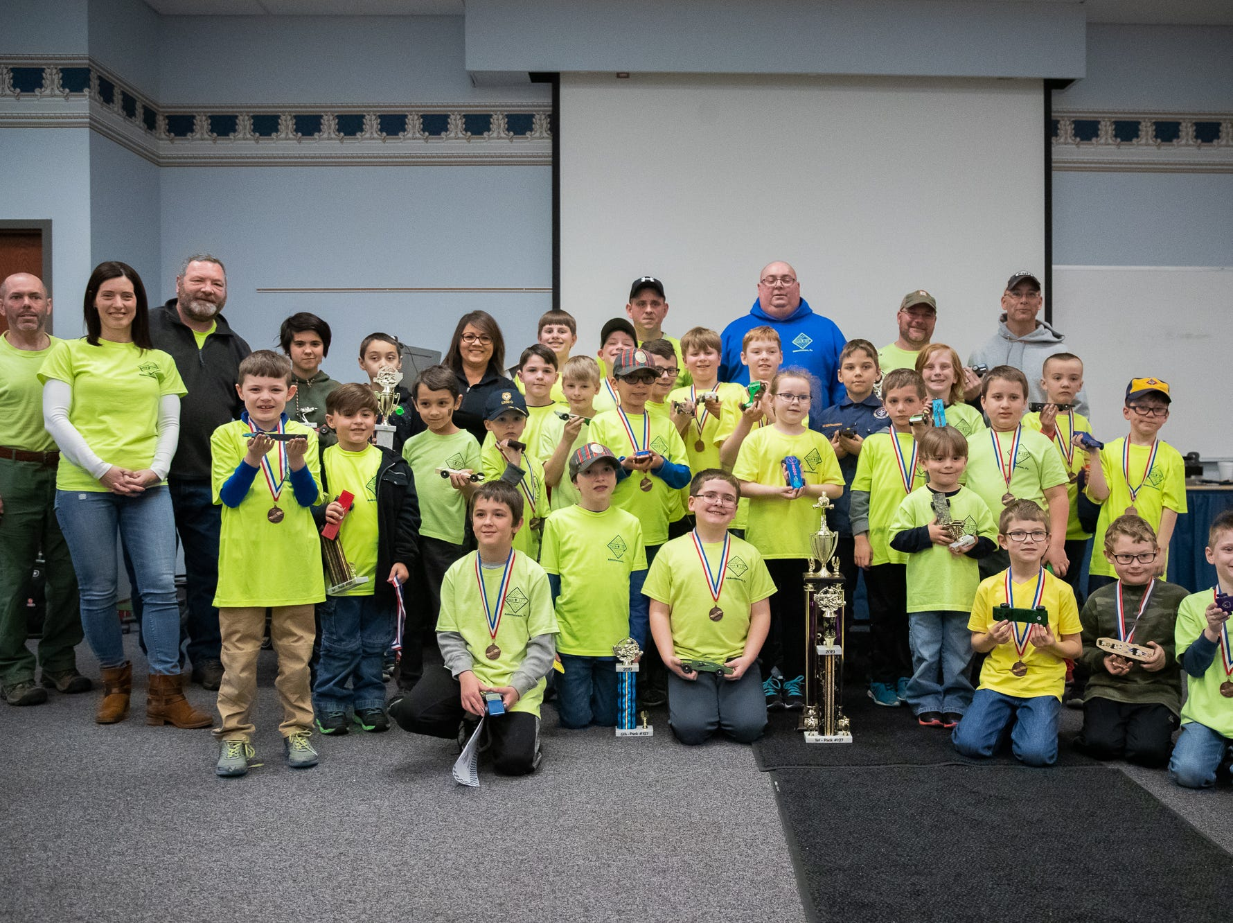 Cub scouts pack 127 held their annual Pine Wood Derby event at Lincoln Intermediate Unit 12, Sunday, Feb. 10 in New Oxford. The scouts had a month to design their custom cars to race in the event.