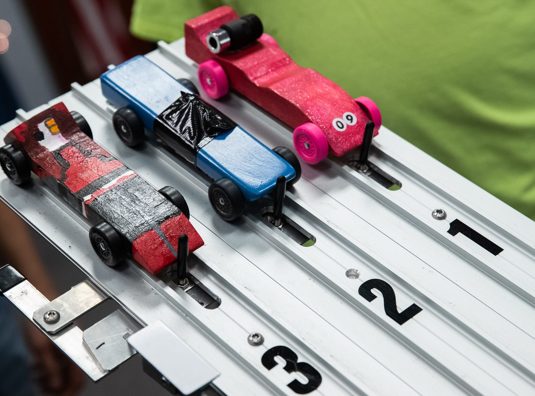 Cars are prepared to be raced during the cub scouts pack 127 Pinewood Derby event at Lincoln Intermediate Unit 12, Sunday, Feb. 10 in New Oxford. The scouts had a month to design their custom pinewood cars to race in the event.