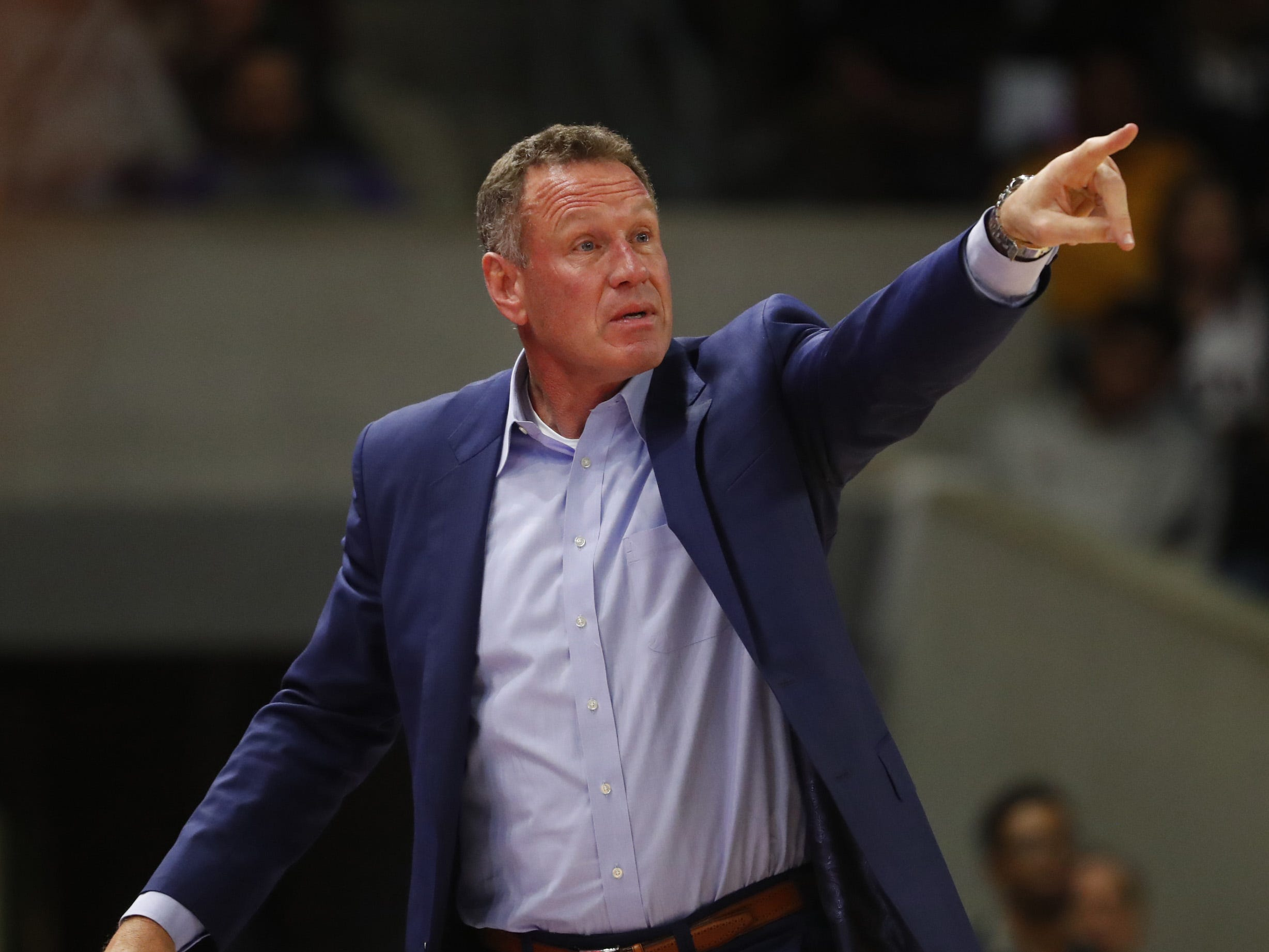 GCU's head coach Dan Majerle calls out to his team during the first half against New Mexico State at Grand Canyon University Arena in Phoenix, Ariz. on February 9, 2019.