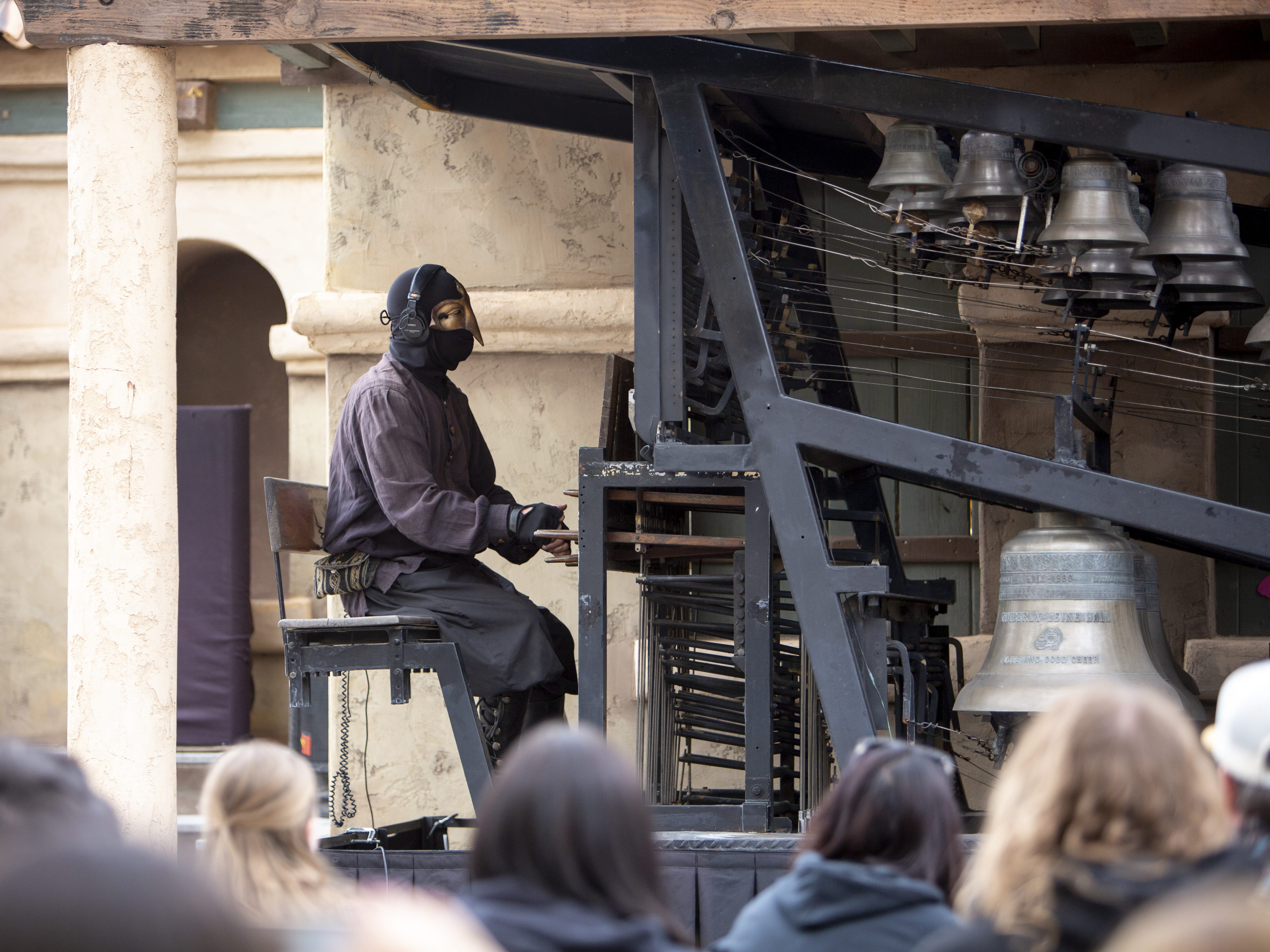 Frank DellaPenna performs on the carillon, an instrument made of at least 23 cast bronze bells, at the Arizona Renaissance Festival 2019 on Feb. 9, 2019 in Gold Canyon, Ariz.