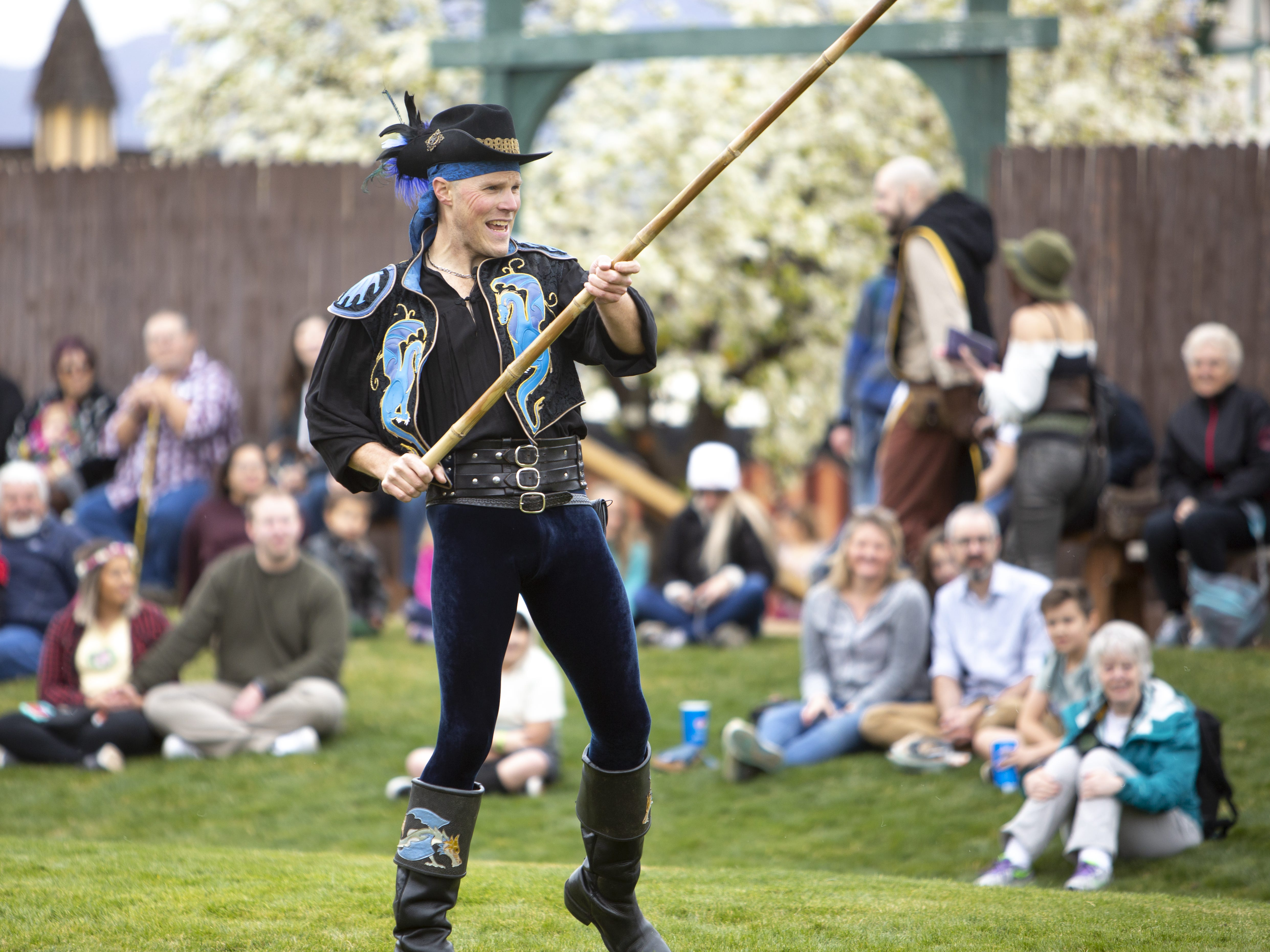 "Adam ""Crack"" Winrich performs his whip show at the Arizona Renaissance Festival 2019 on Feb. 9, 2019 in Gold Canyon, Ariz."