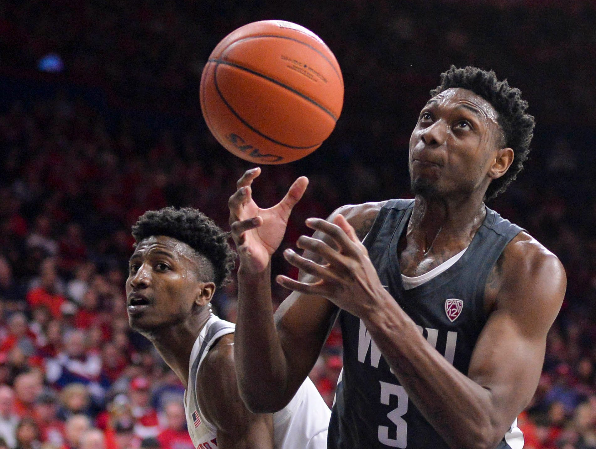Feb 9, 2019; Tucson, AZ, USA; Washington State Cougars forward Robert Franks (3) loses control of the ball as Arizona Wildcats guard Dylan Smith (3) defends during the first half at McKale Center. Mandatory Credit: Casey Sapio-USA TODAY Sports