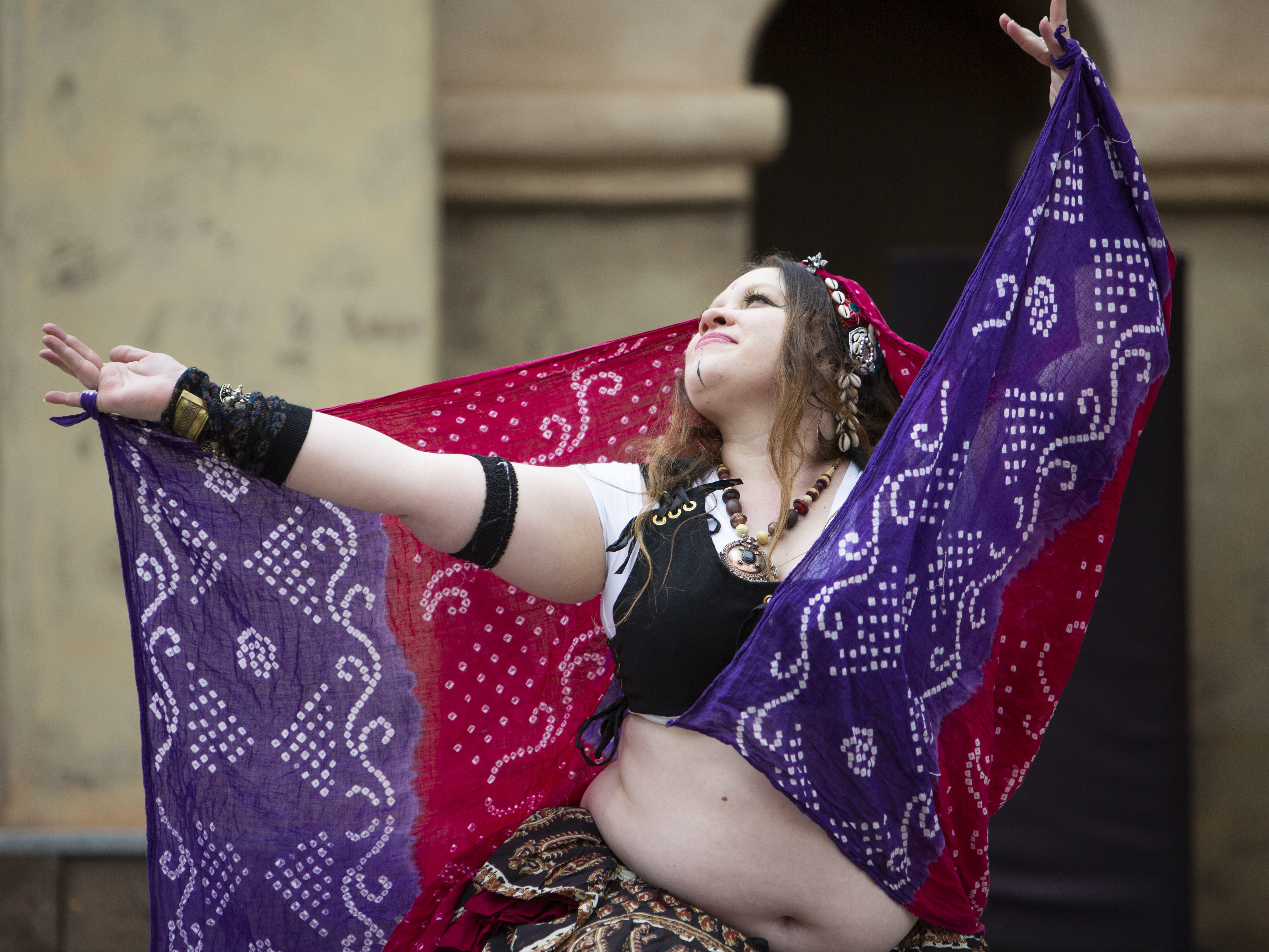 Ghazaal Beledi dancer Laura Masterson, who goes by the stage name of Lorella, performs at the Arizona Renaissance Festival 2019 on Feb. 9, 2019 in Gold Canyon, Ariz.