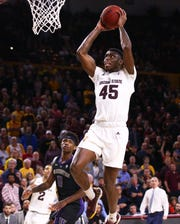 Arizona State Sun Devils forward Zylan Cheatham drives to the basket and scores against the Washington Huskies in the second half on Feb. 9 at Wells Fargo Arena in Tempe.