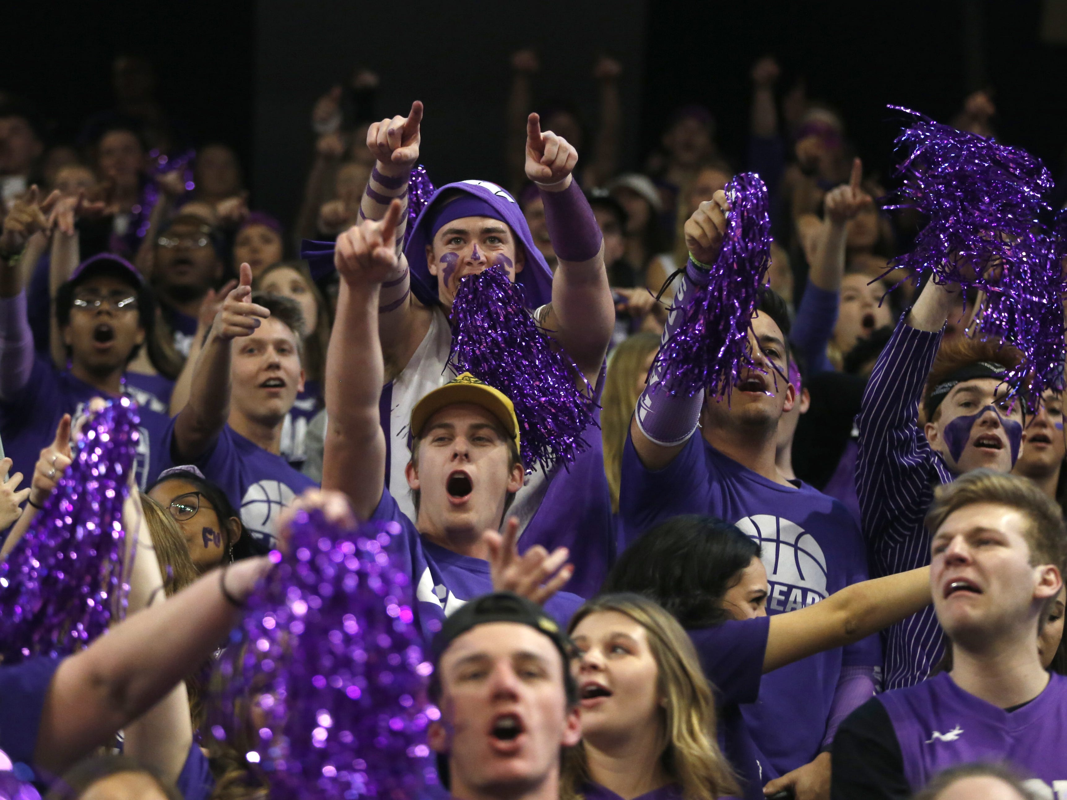 GCU fans call out the opposing team, New Mexico State prior to the first half at Grand Canyon University Arena in Phoenix, Ariz. on February 9, 2019.