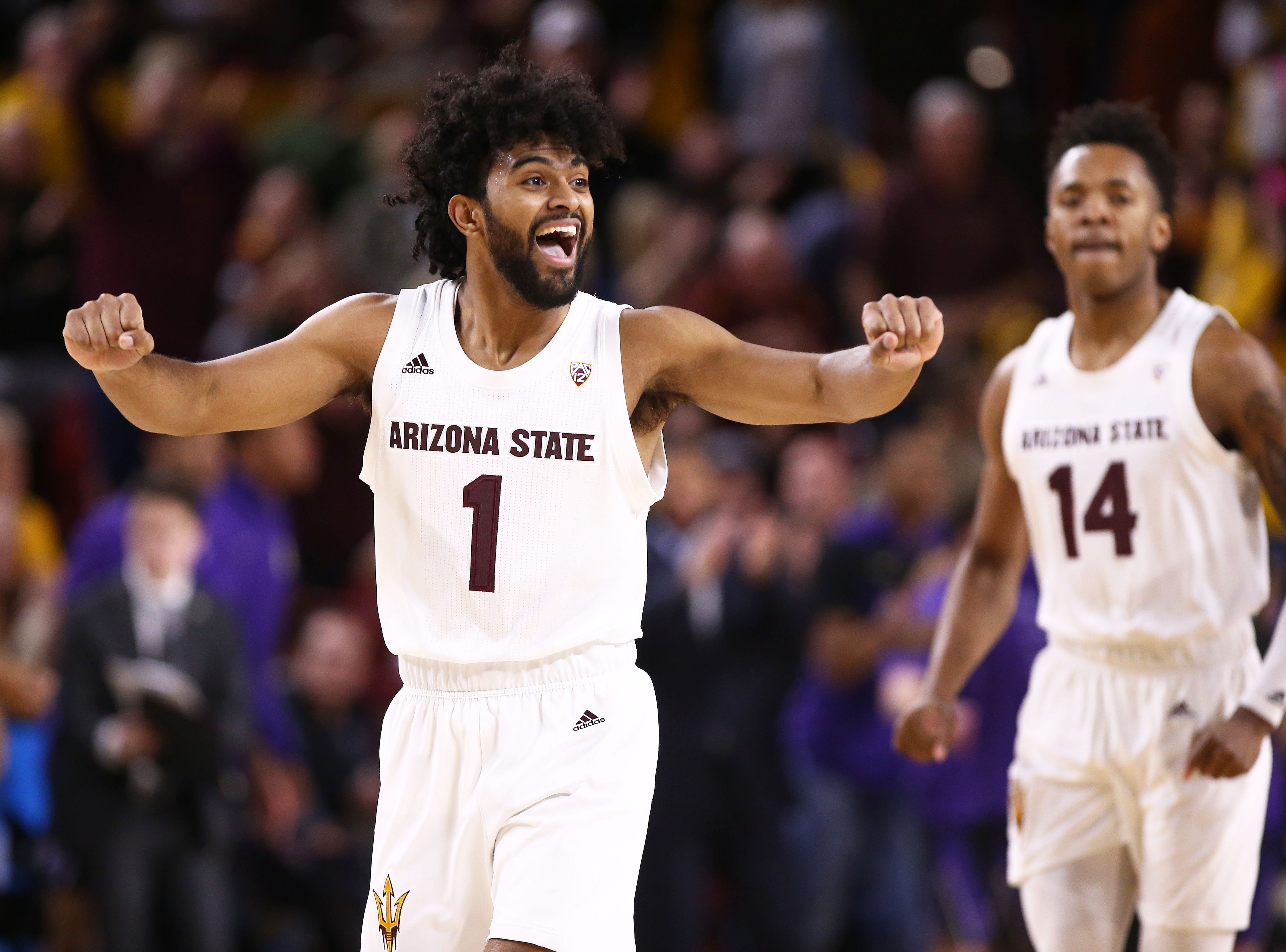 Arizona State Sun Devils guard Remy Martin celebrates a fast start against the Washington Huskies in the first half on Feb. 9 at Wells Fargo Arena in Tempe.