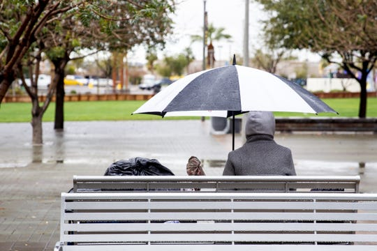 Rain falls on downtown Phoenix during the day on Feb. 3, 2019.